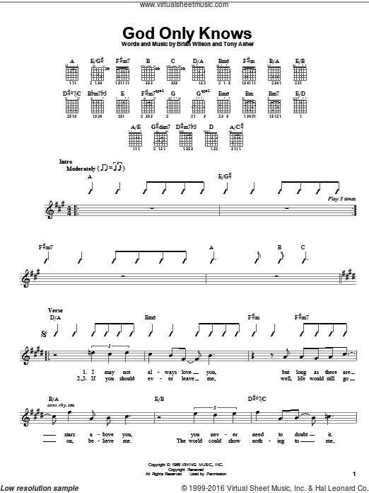 God Only Knows sheet music for guitar solo (chords) by The Beach Boys and Brian Wilson. Score Image Preview.