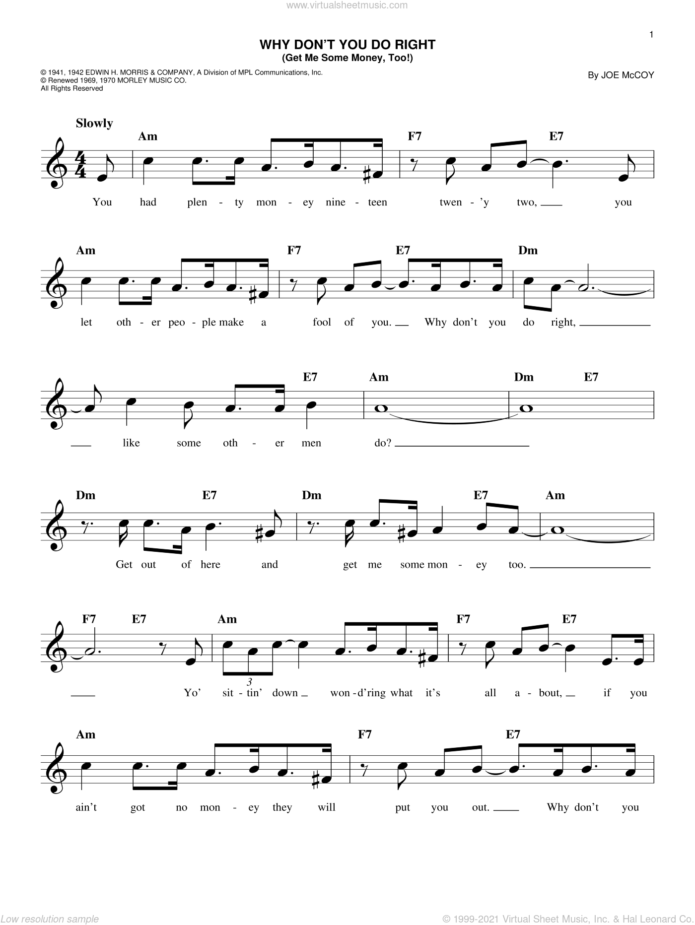 Why Don't You Do Right (Get Me Some Money, Too!) sheet music for voice and other instruments (fake book) by Peggy Lee and Joe McCoy, intermediate skill level