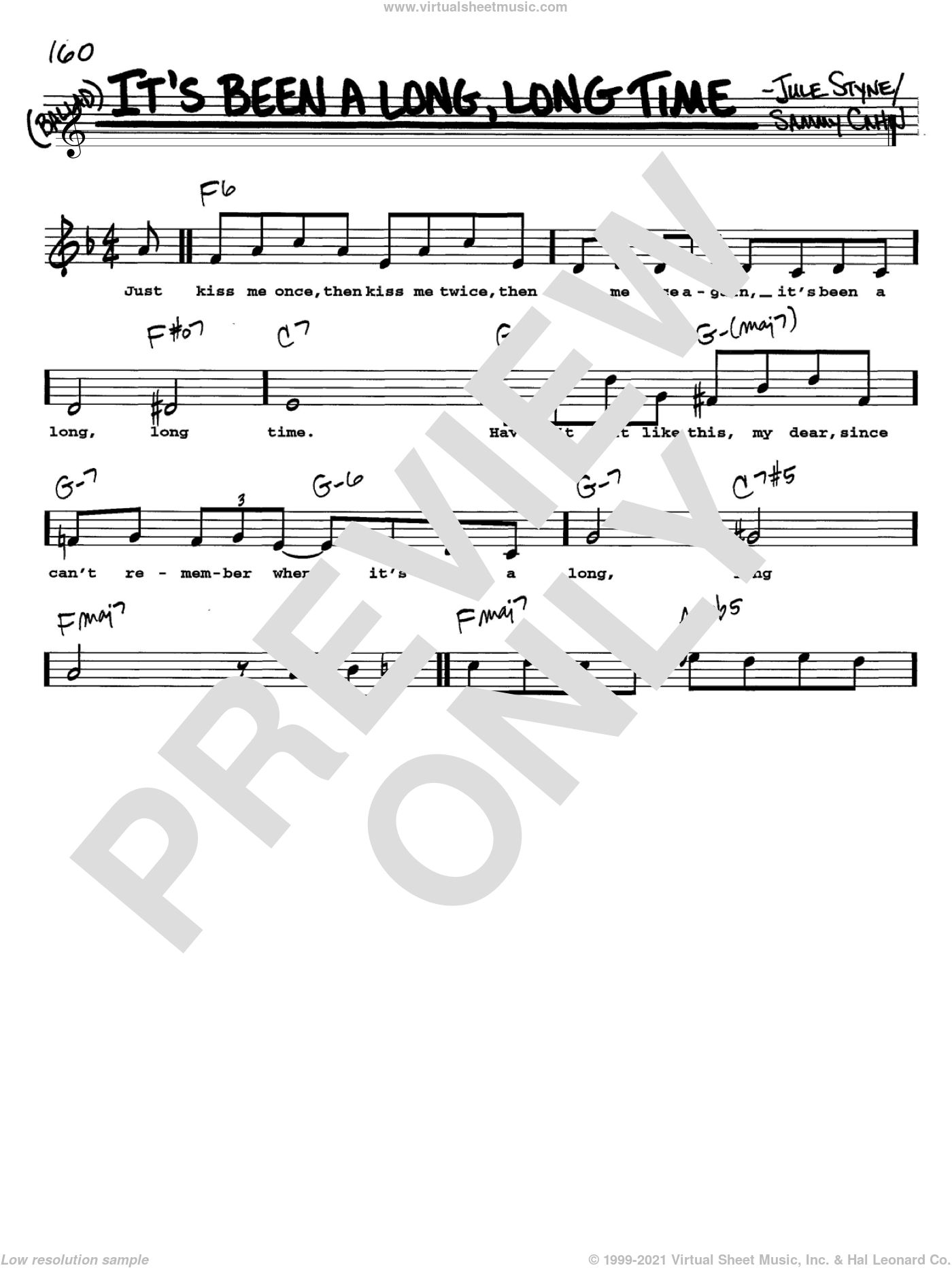It's Been A Long, Long Time sheet music for voice and other instruments  by Sammy Cahn and Jule Styne, intermediate. Score Image Preview.