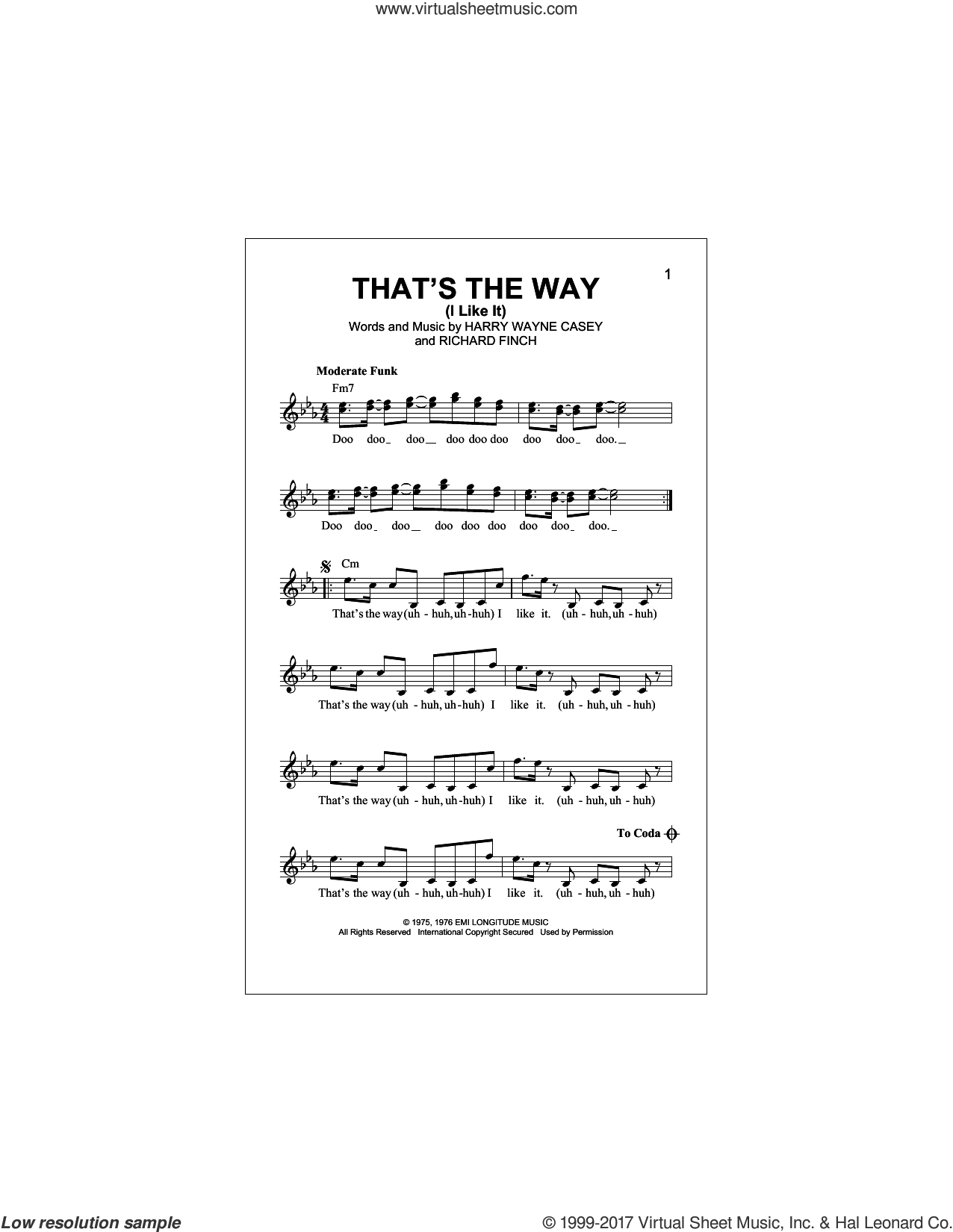That's The Way (I Like It) sheet music for voice and other instruments (fake book) by KC & The Sunshine Band, Harry Wayne Casey and Richard Finch, intermediate skill level