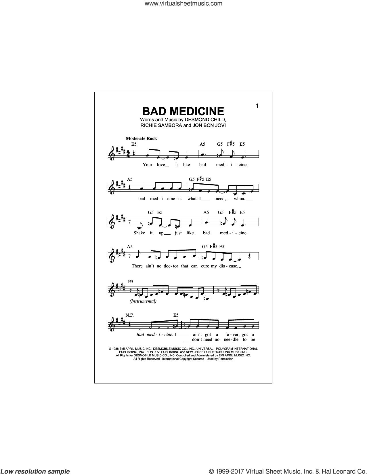 Bad Medicine sheet music for voice and other instruments (fake book) by Bon Jovi, Desmond Child and Richie Sambora, intermediate skill level