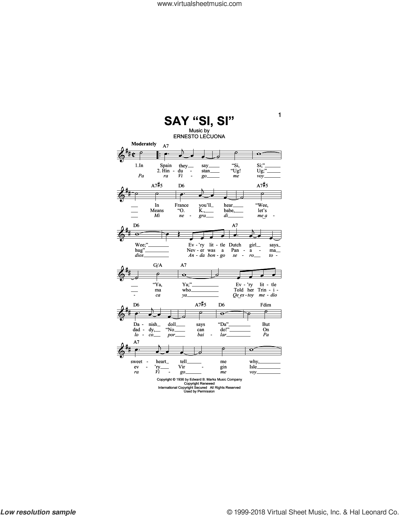 Say Si Si sheet music for voice and other instruments (fake book) by Ernesto Lecuona, intermediate skill level