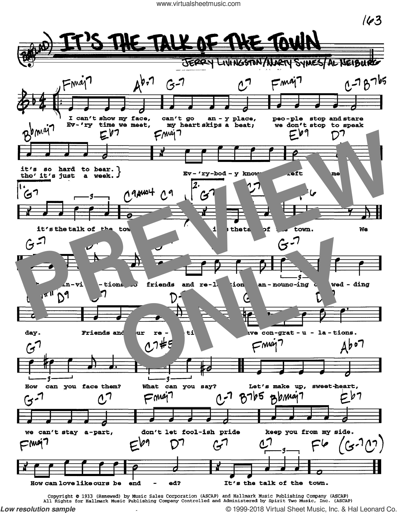 It's The Talk Of The Town sheet music for voice and other instruments (Vocal Volume 2) by Jerry Livingston and Marty Symes, intermediate voice. Score Image Preview.