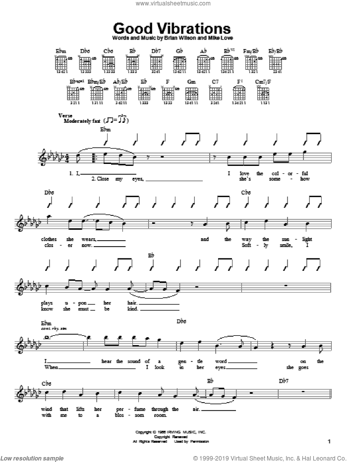 Good Vibrations sheet music for guitar solo (chords) by Mike Love, The Beach Boys and Brian Wilson. Score Image Preview.