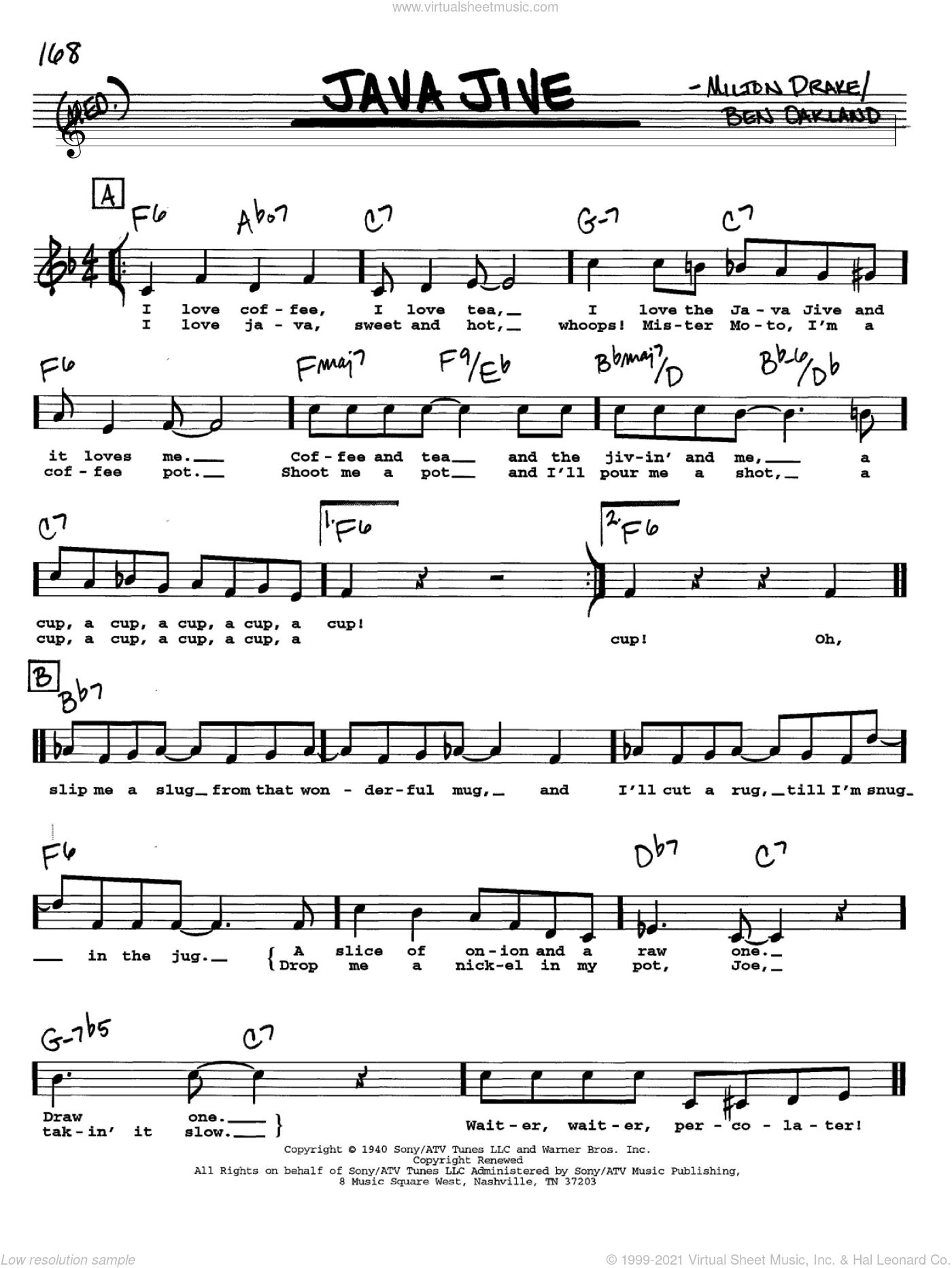 Java Jive sheet music for voice and other instruments  by The Ink Spots, Ben Oakland and Milton Drake, intermediate skill level