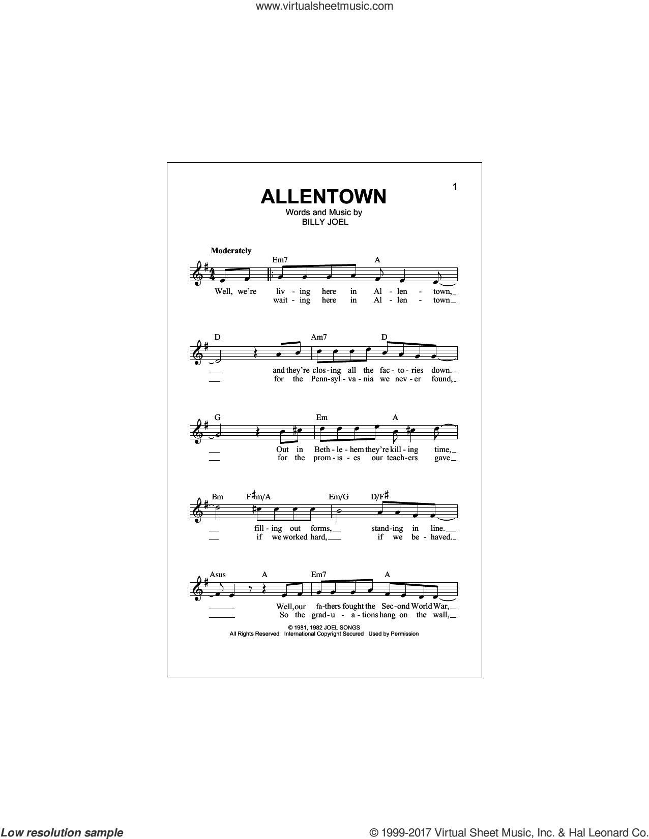 Allentown sheet music for voice and other instruments (fake book) by Billy Joel, intermediate skill level
