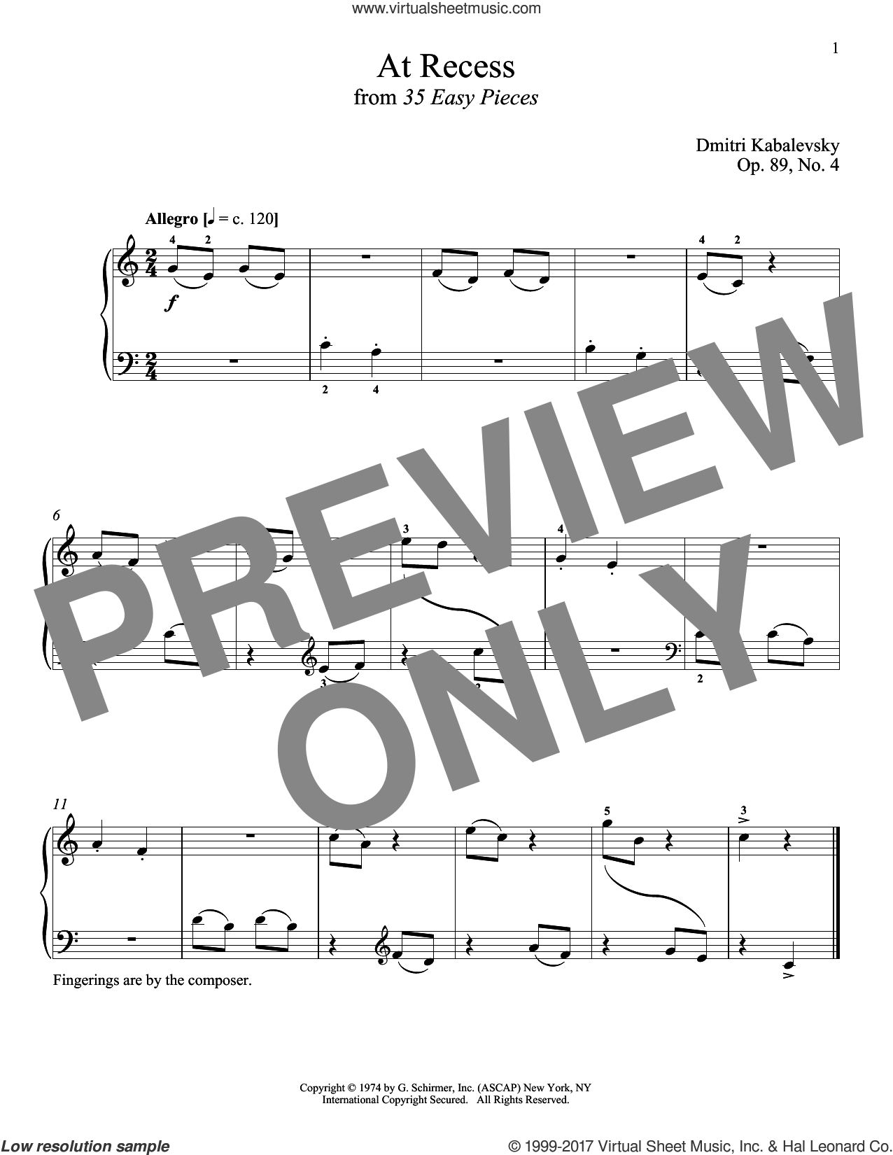 At Recess sheet music for piano solo by Dmitri Kabalevsky and Richard Walters, classical score, intermediate skill level