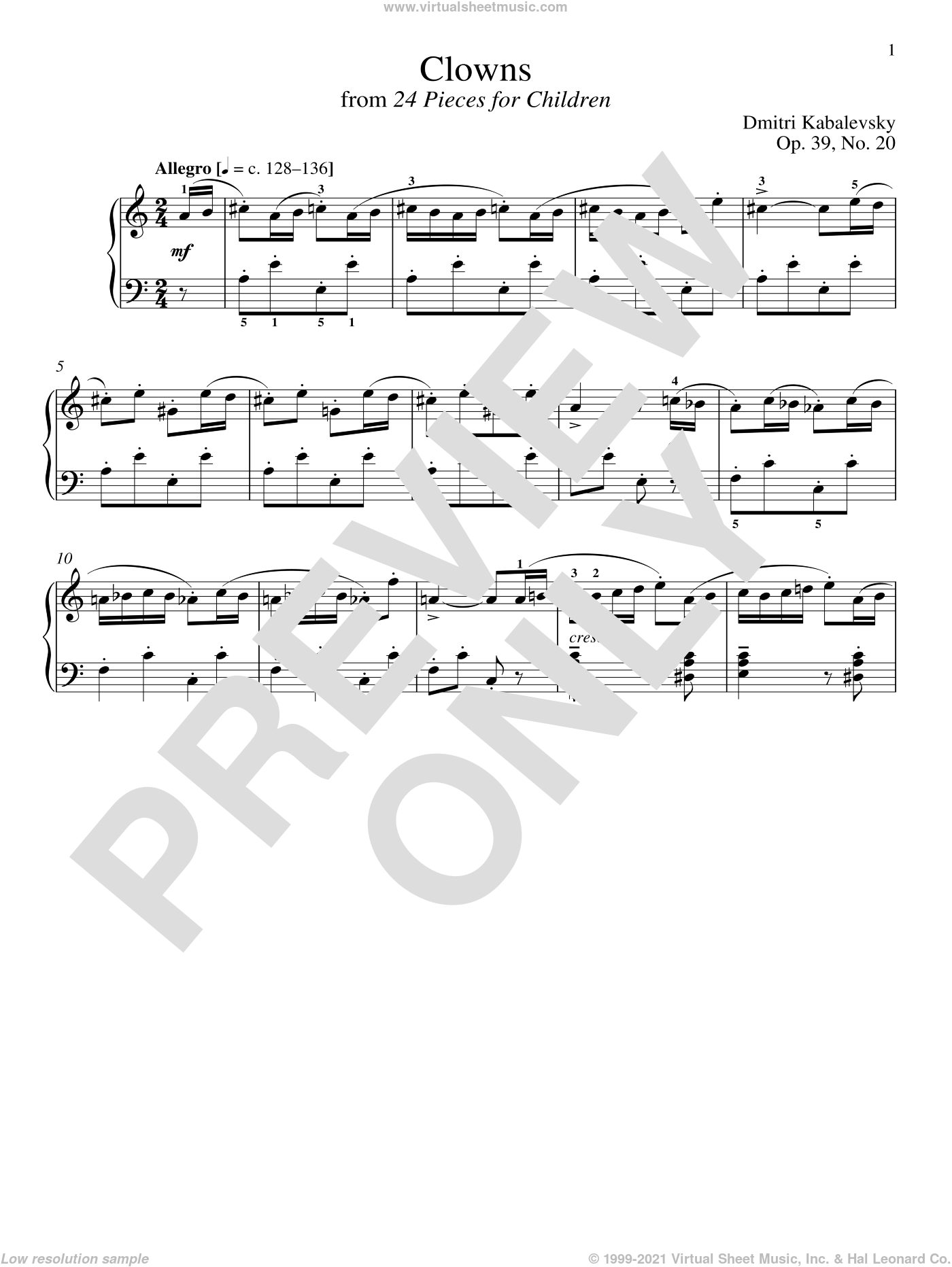 Clowns, Op. 39, No. 20 sheet music for piano solo by Dmitri Kabalevsky and Richard Walters, classical score, intermediate skill level