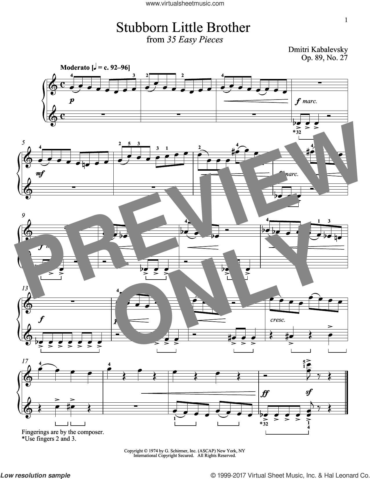 Stubborn Little Brother, Op. 89, No. 27 sheet music for piano solo by Dmitri Kabalevsky and Richard Walters. Score Image Preview.