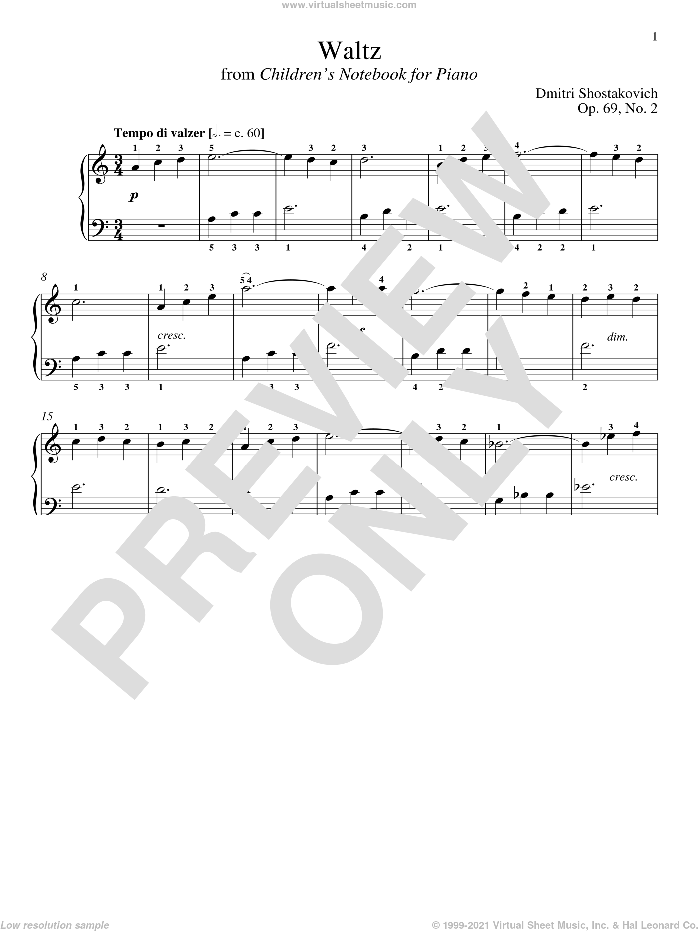 Waltz, Op. 69, No. 2 sheet music for piano solo by Dmitri Shostakovich and Richard Walters, classical score, intermediate. Score Image Preview.