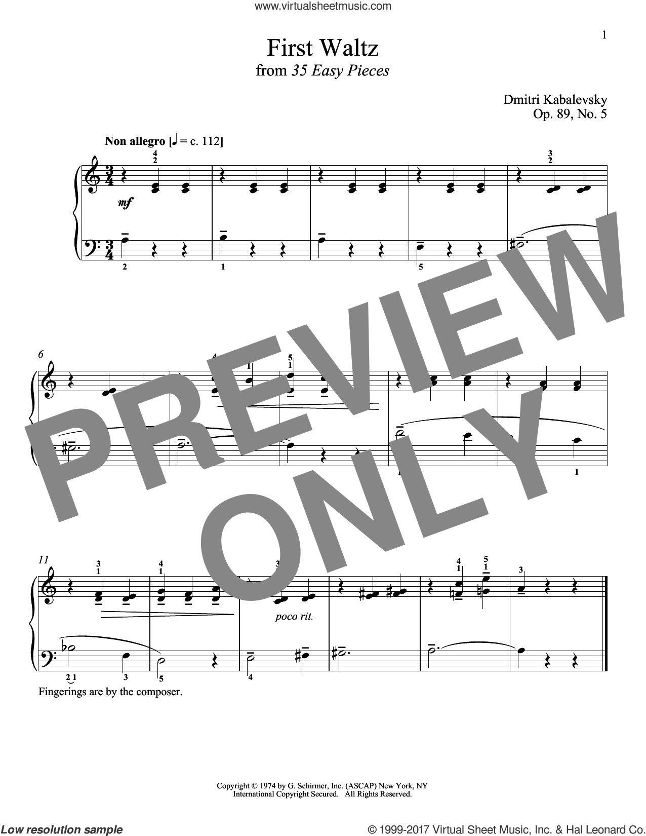 First Waltz sheet music for piano solo by Dmitri Kabalevsky and Richard Walters, classical score, intermediate skill level