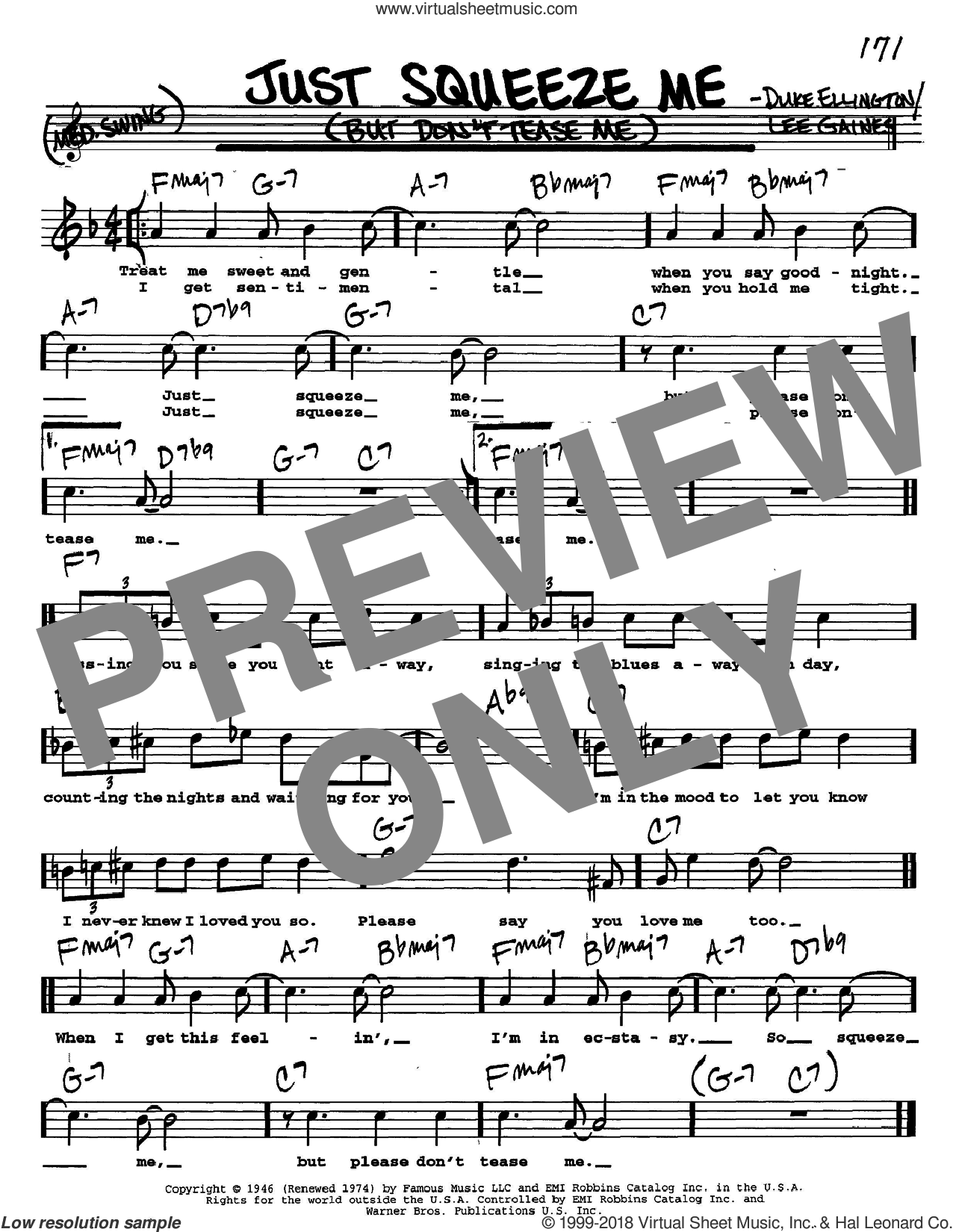 Just Squeeze Me (But Don't Tease Me) sheet music for voice and other instruments  by Duke Ellington and Lee Gaines, intermediate skill level