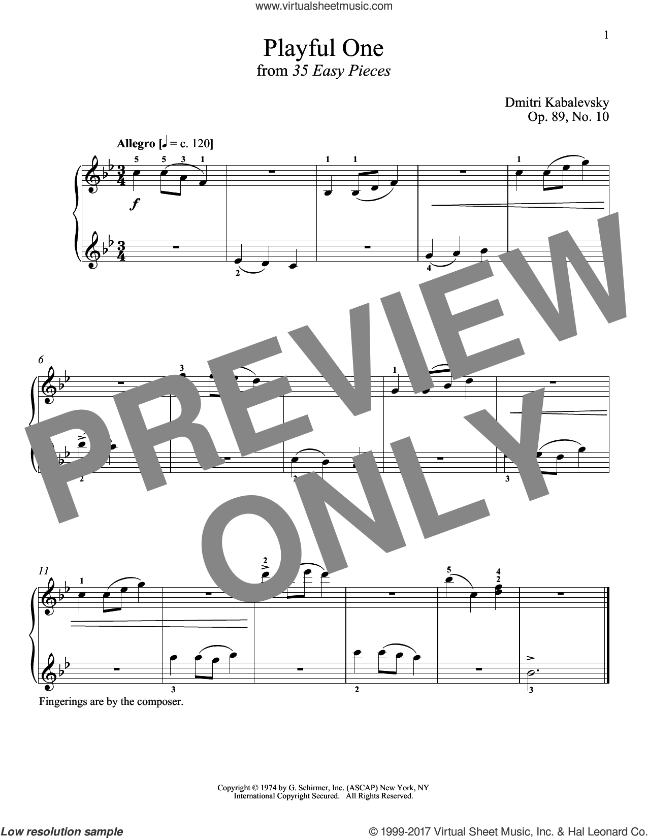 Playful One, Op. 89, No. 10 sheet music for piano solo by Dmitri Kabalevsky and Richard Walters, classical score, intermediate skill level