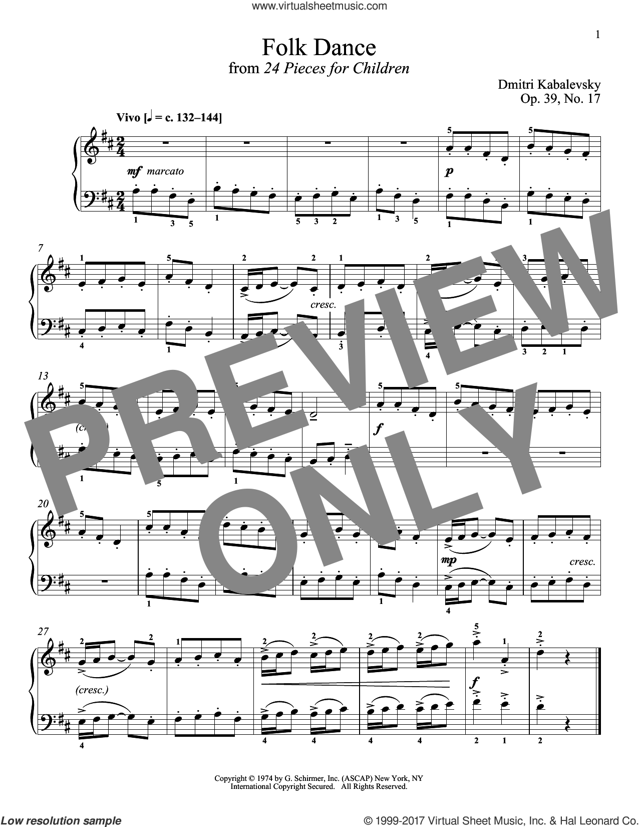 Folk Dance, Op. 39, No. 17 sheet music for piano solo by Dmitri Kabalevsky and Richard Walters, classical score, intermediate skill level