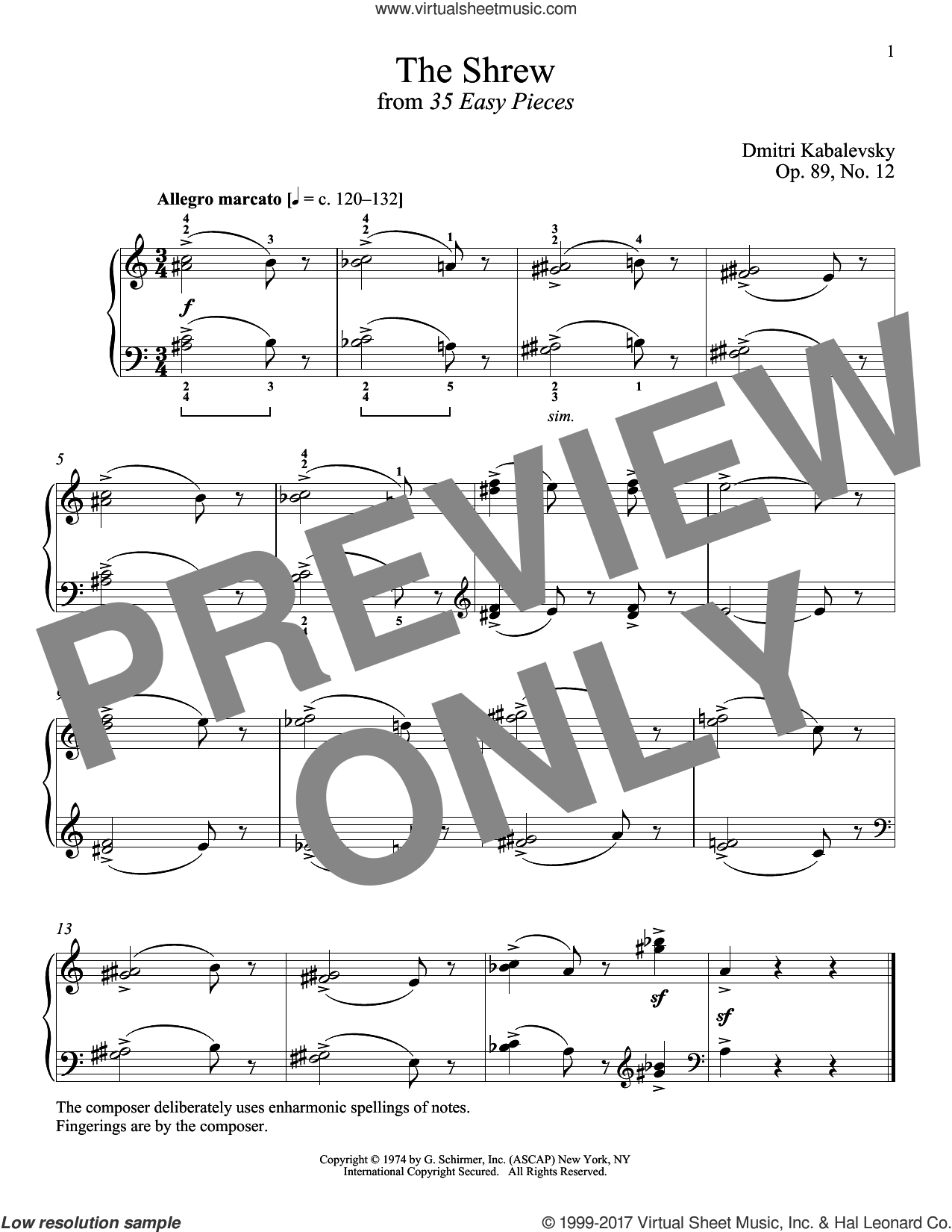 The Shrew, Op. 89, No. 12 sheet music for piano solo by Dmitri Kabalevsky and Richard Walters, classical score, intermediate skill level
