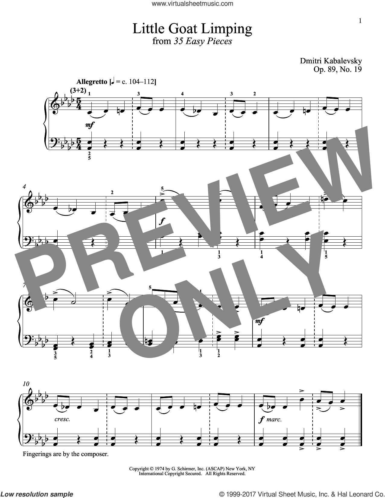 The Little Goat Limping, Op. 89, No. 19 sheet music for piano solo by Dmitri Kabalevsky and Richard Walters, classical score, intermediate skill level