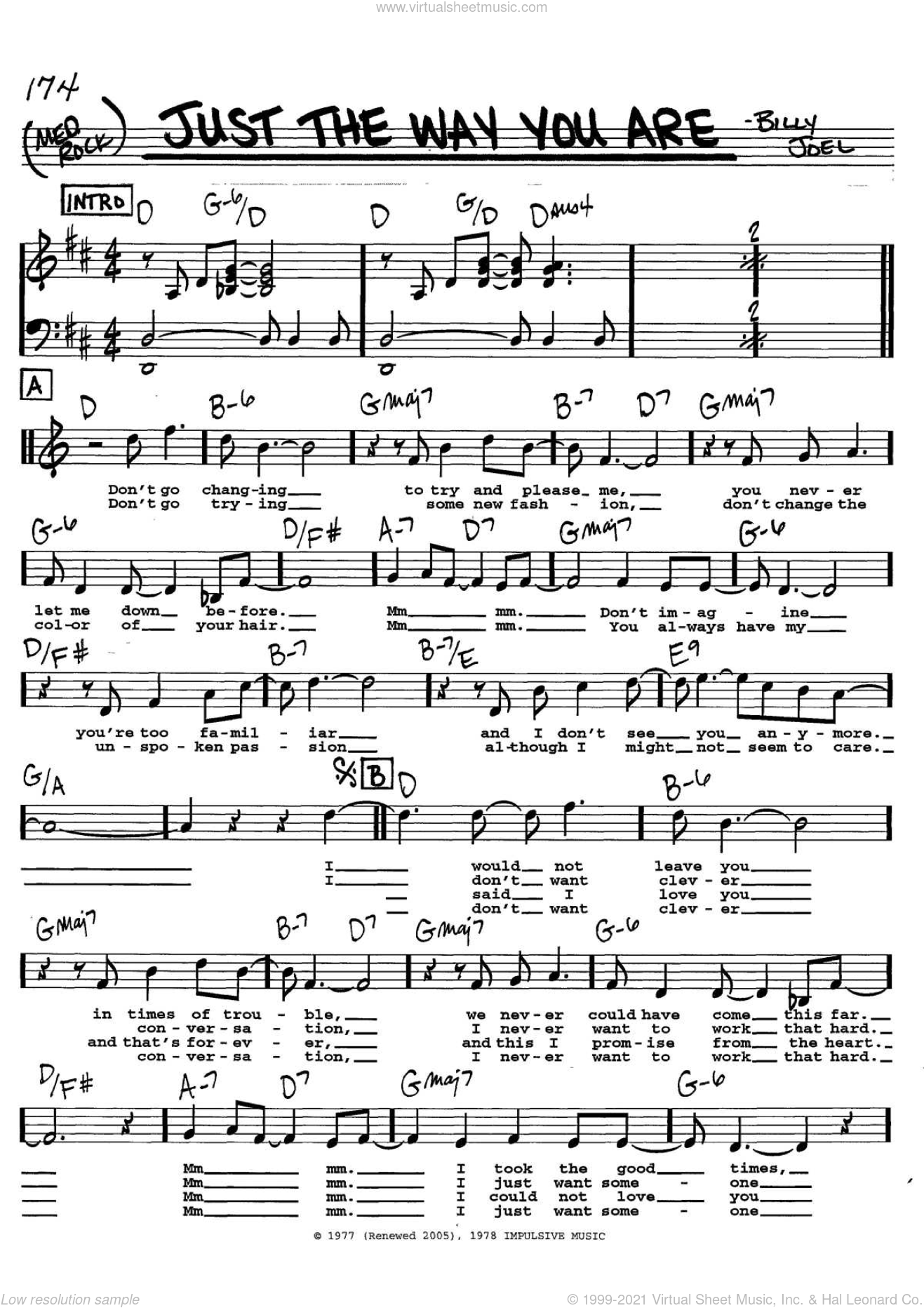 Just The Way You Are sheet music for voice and other instruments  by Billy Joel, wedding score, intermediate. Score Image Preview.