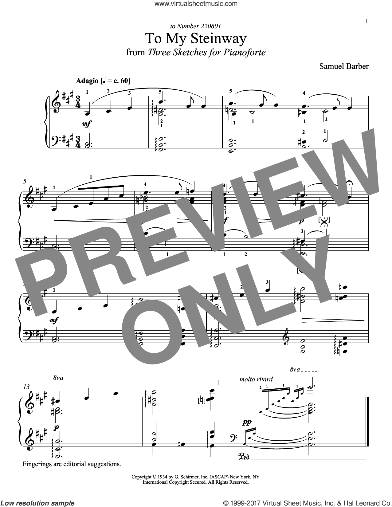To My Steinway sheet music for piano solo by Samuel Barber and Richard Walters, classical score, intermediate skill level
