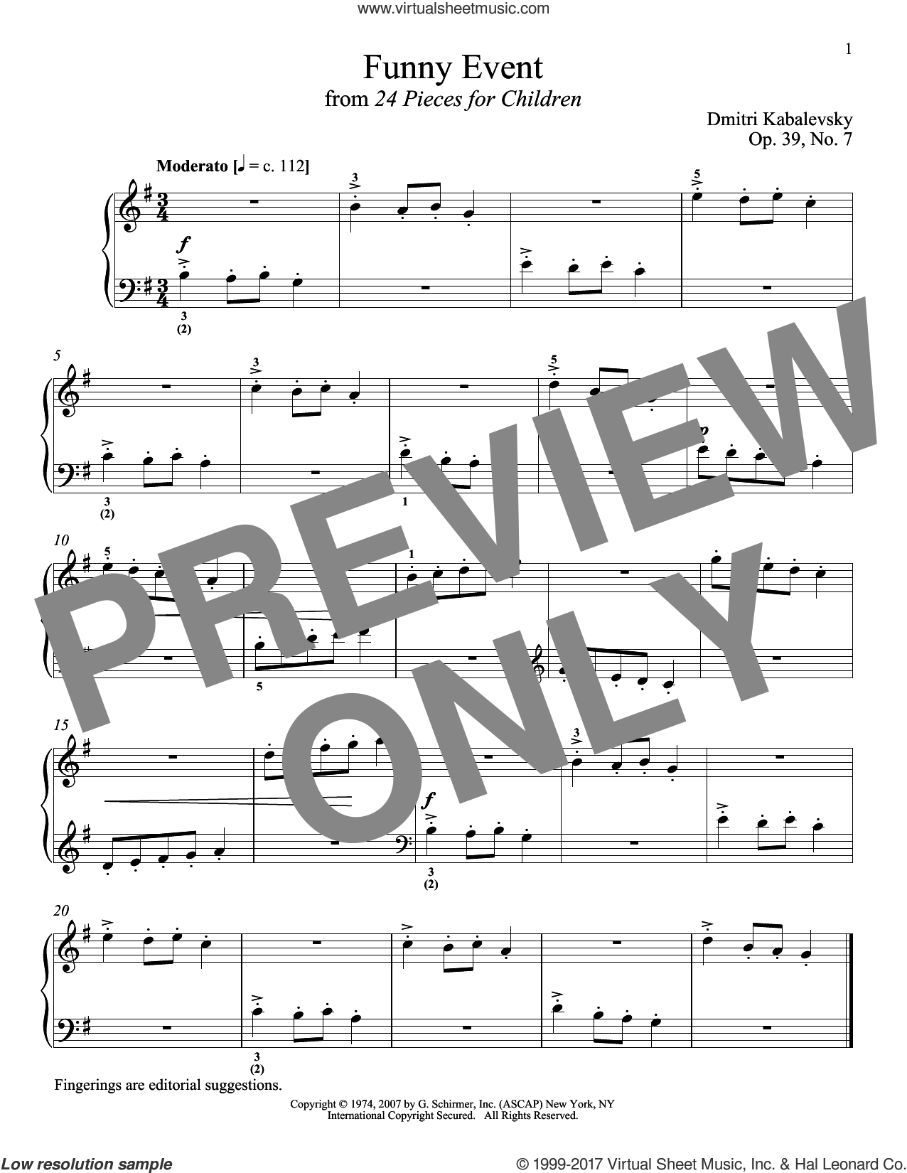 Funny Event, Op. 39, No. 7 sheet music for piano solo by Dmitri Kabalevsky and Richard Walters, classical score, intermediate skill level
