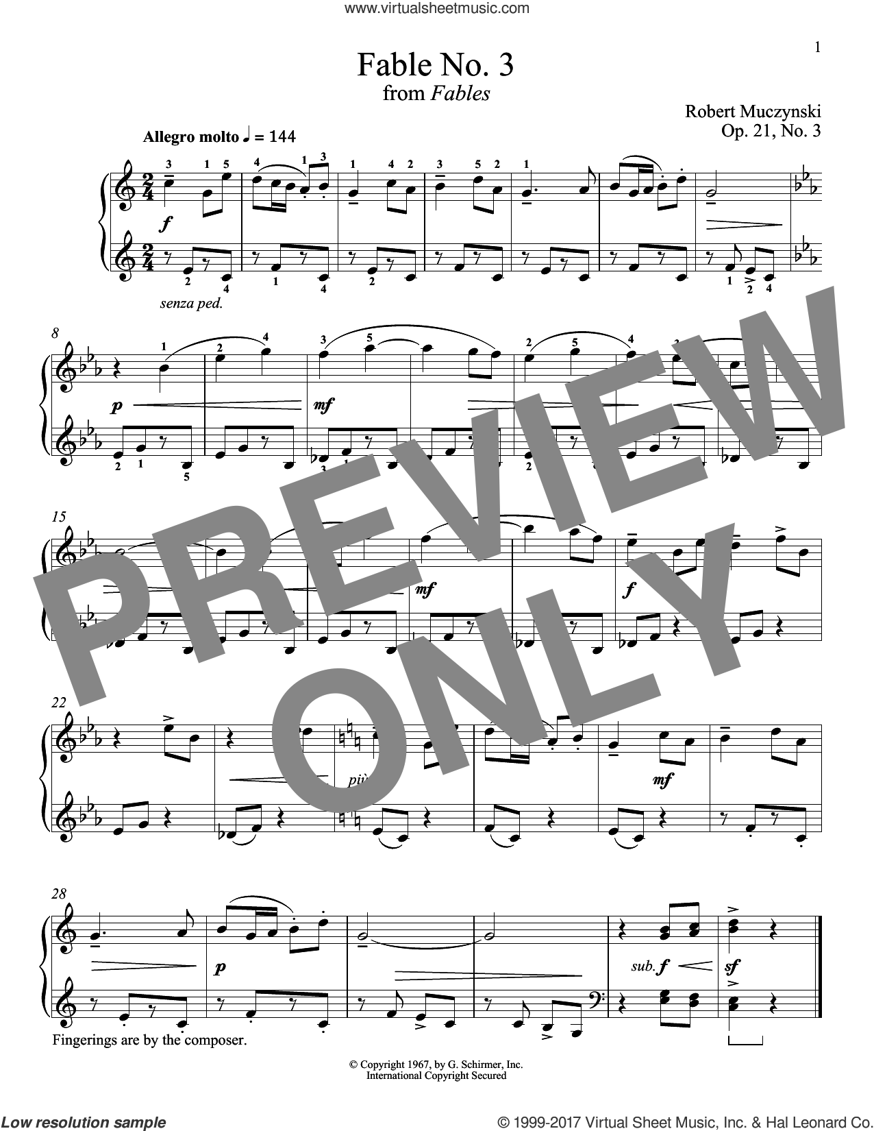 Fable No. 3, Op. 21 sheet music for piano solo by Robert Muczynski and Richard Walters. Score Image Preview.