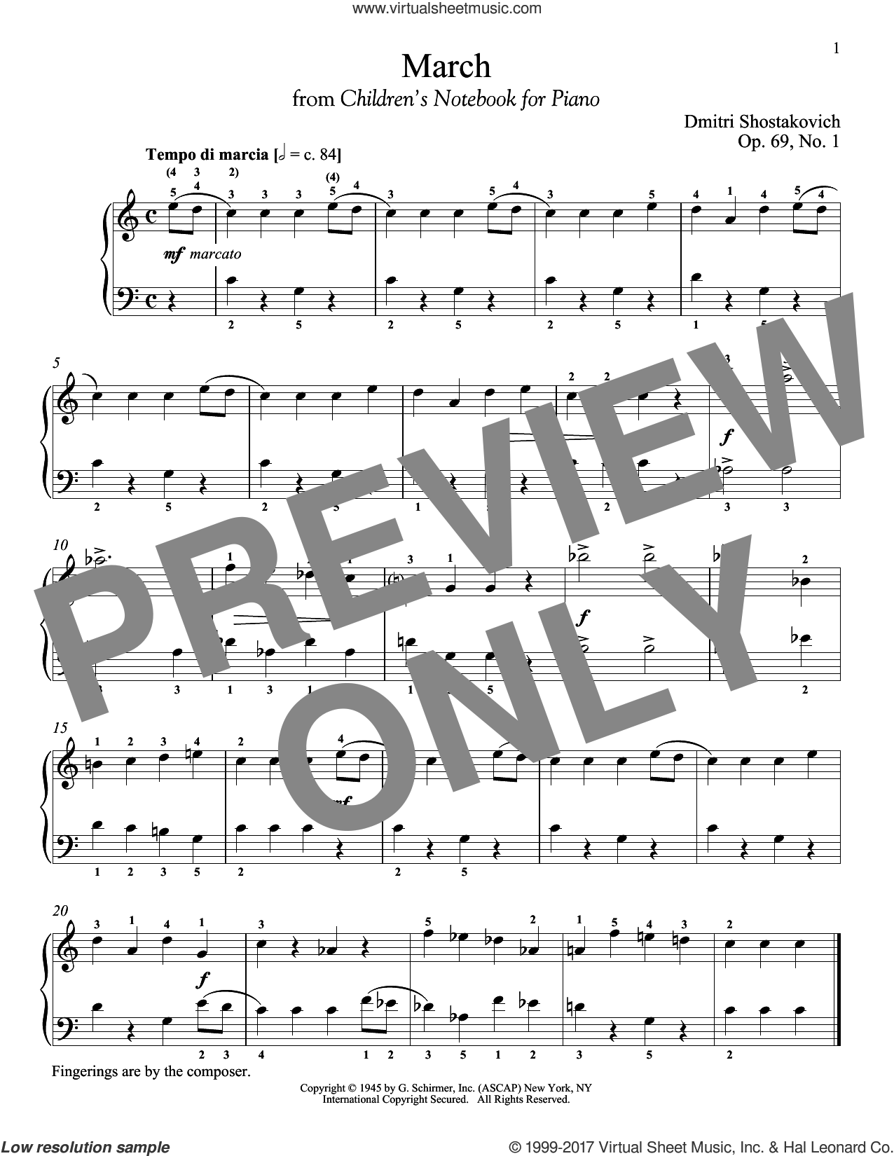 March, Op. 69, No. 1 sheet music for piano solo by Dmitri Shostakovich and Richard Walters, classical score, intermediate skill level