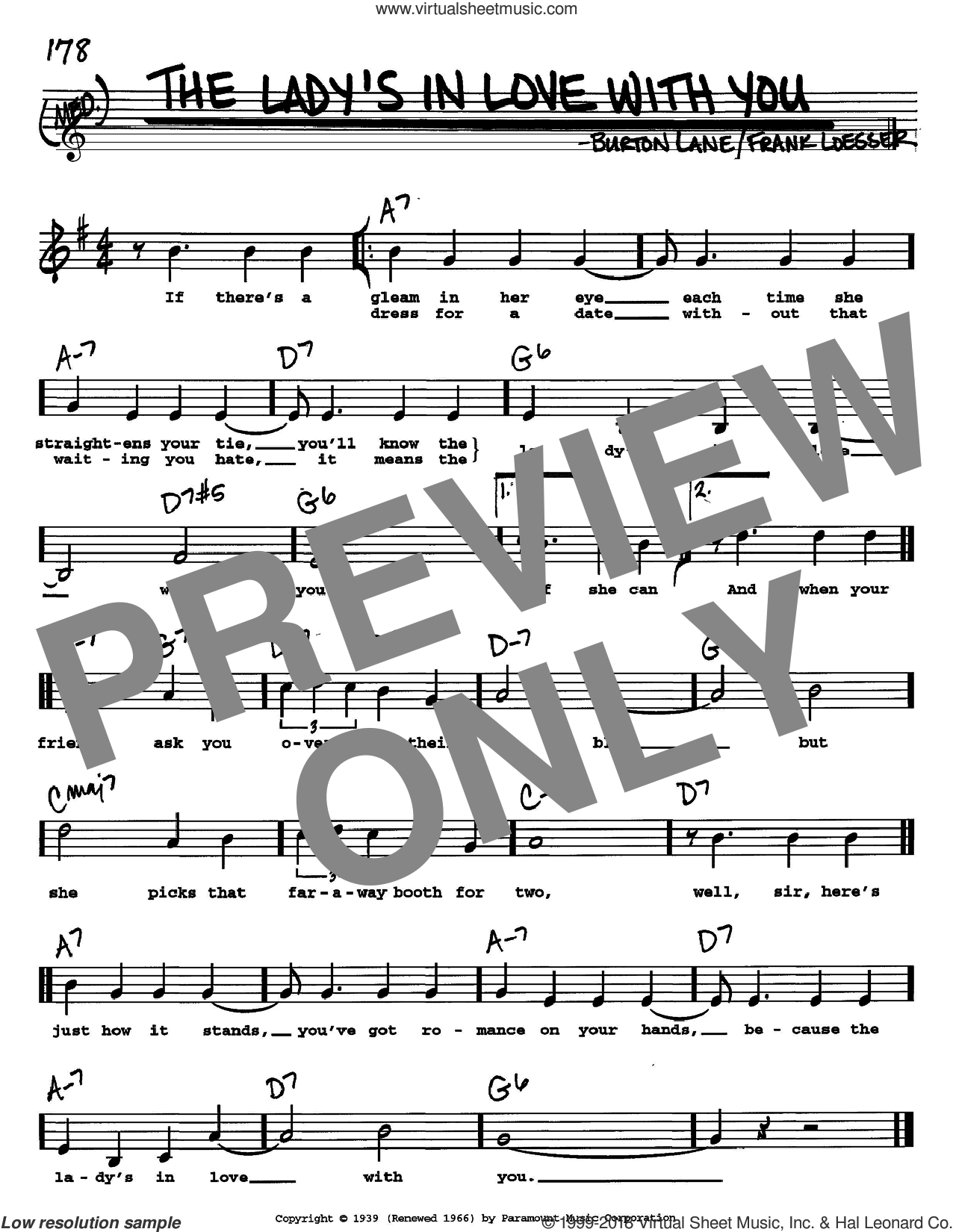 The Lady's In Love With You sheet music for voice and other instruments (Vocal Volume 2) by Frank Loesser, Benny Goodman and Burton Lane. Score Image Preview.