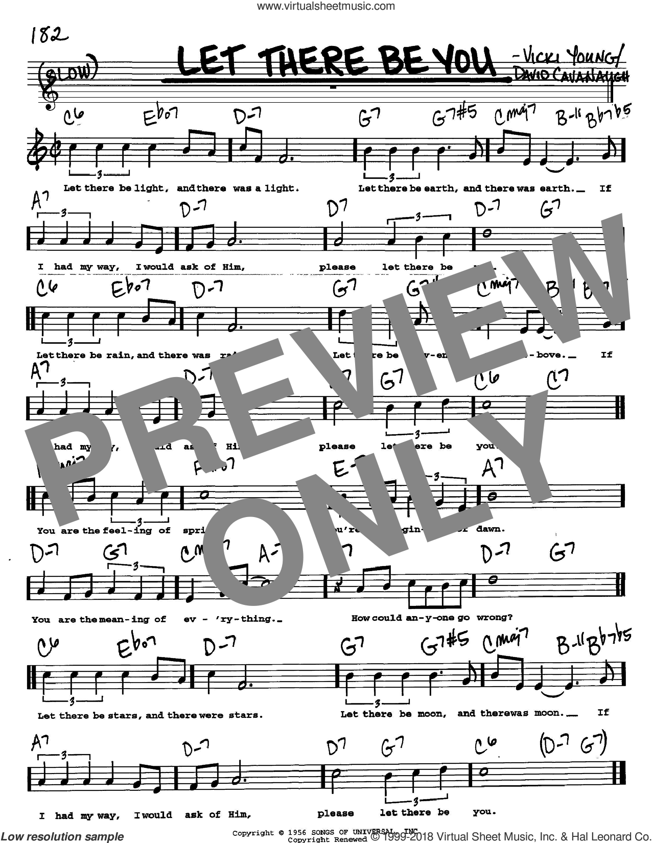 Let There Be You sheet music for voice and other instruments (Vocal Volume 2) by Dave Cavanaugh