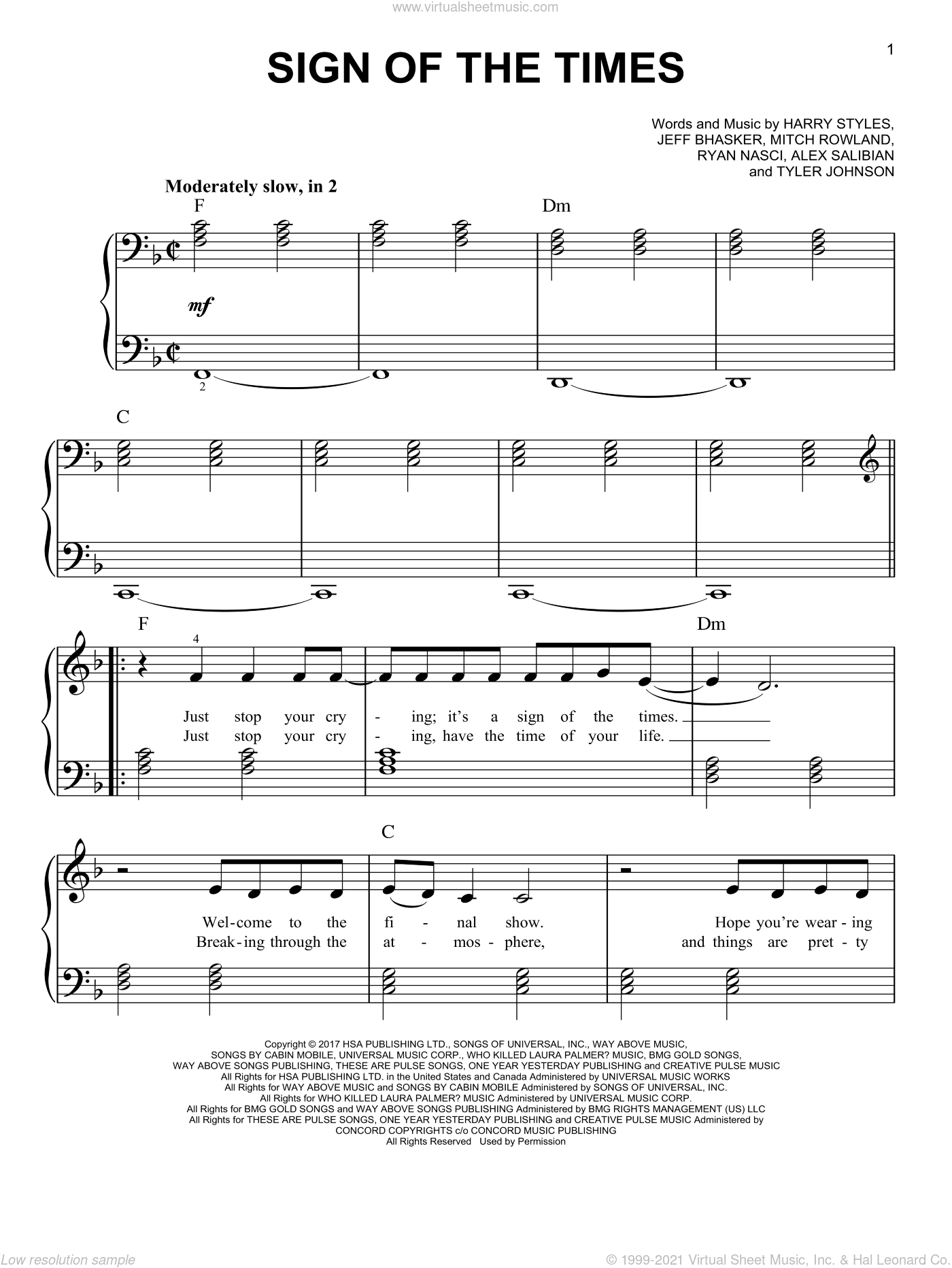 Sign Of The Times sheet music for piano solo by Harry Styles, Alex Salibian, Jeff Bhasker, Mitch Rowland, Ryan Nasci and Tyler Johnson, easy skill level