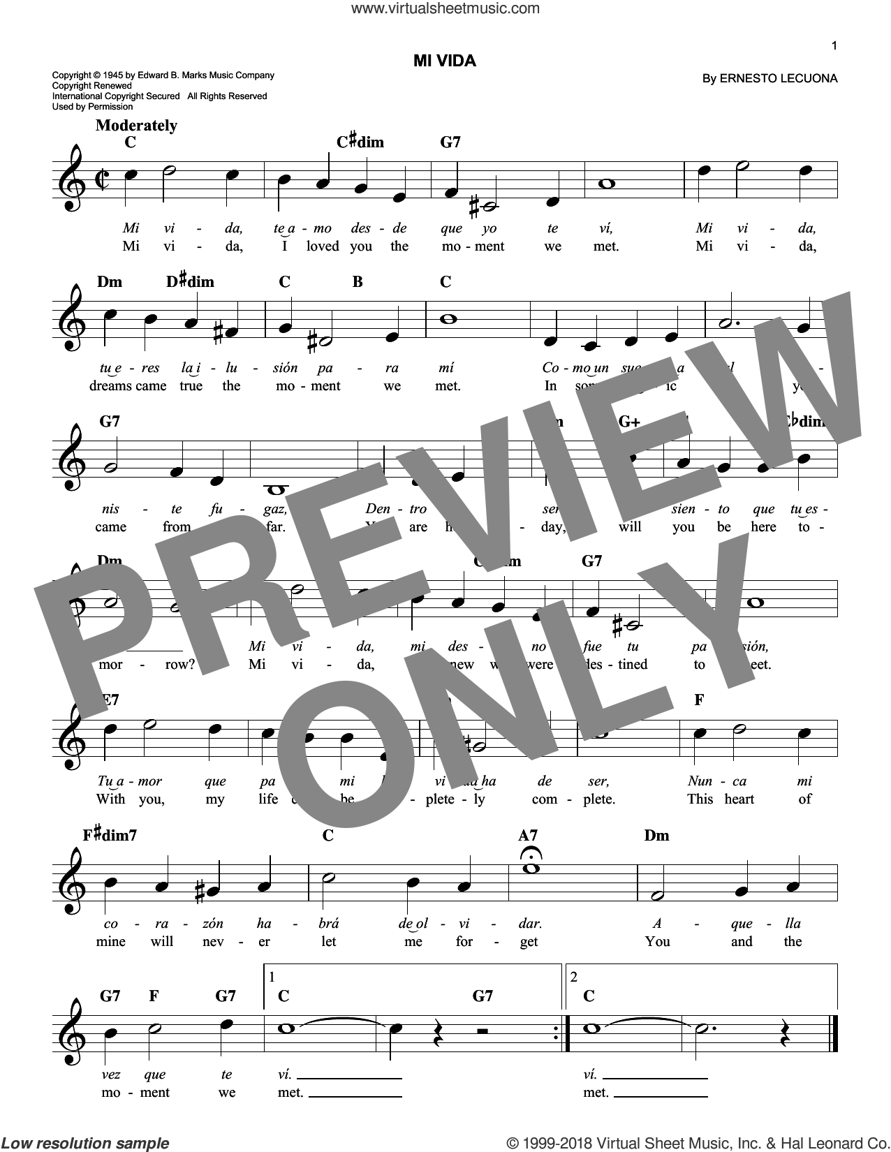 Mi Vida sheet music for voice and other instruments (fake book) by Ernesto Lecuona, intermediate skill level