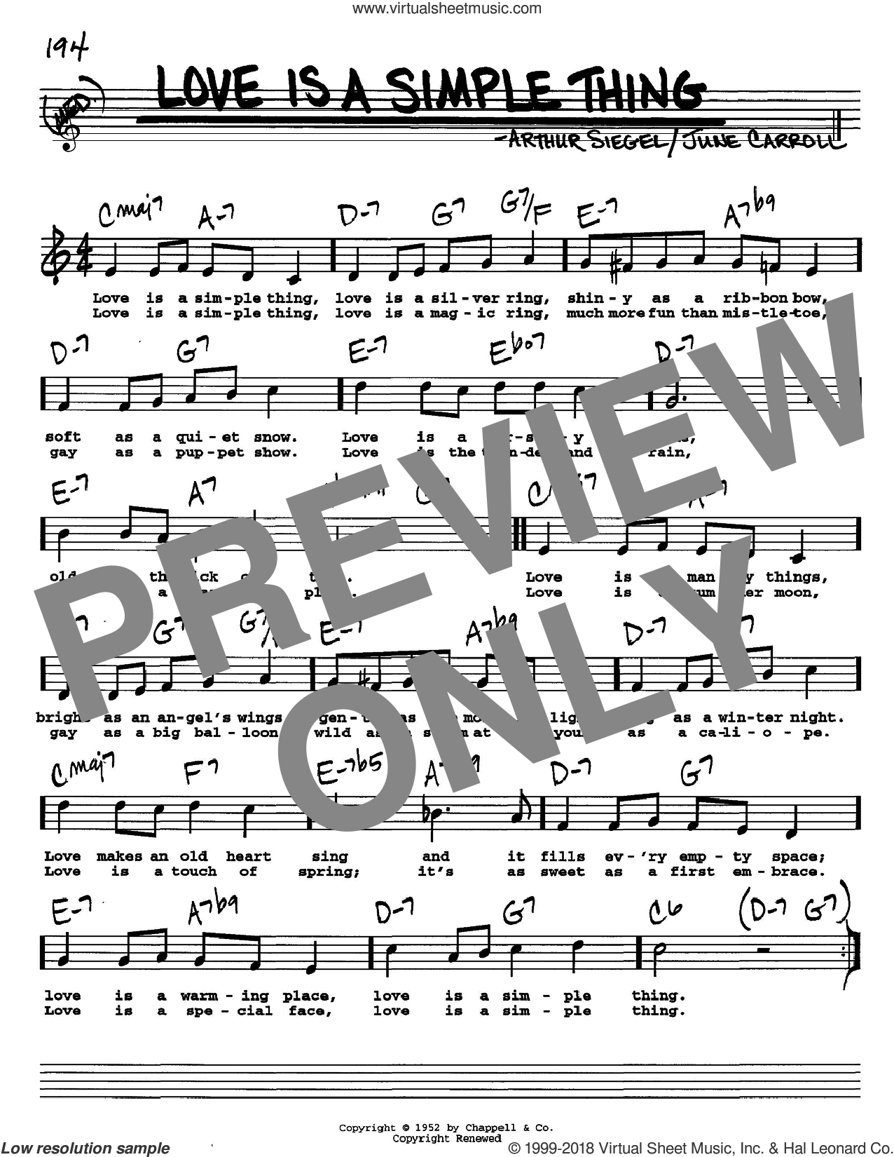 Love Is A Simple Thing sheet music for voice and other instruments (Vocal Volume 2) by Arthur Siegel and June Carroll