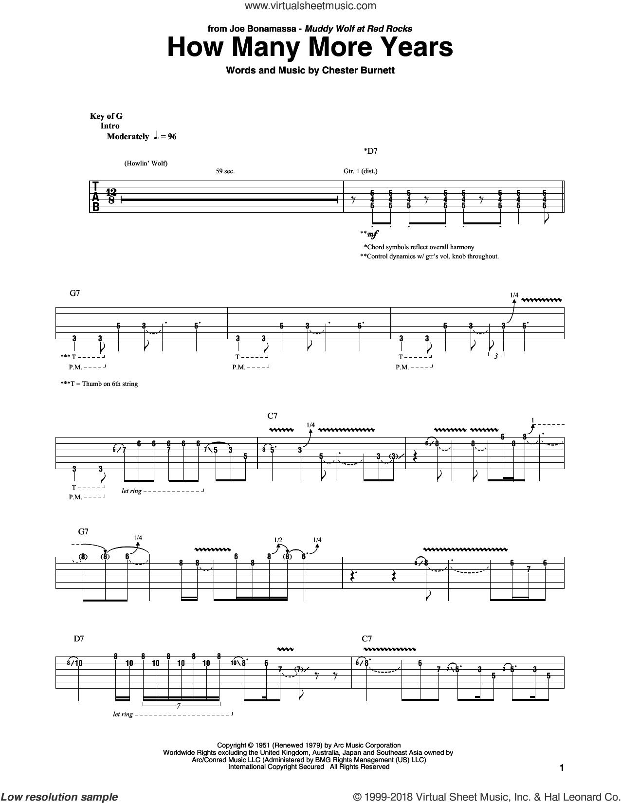 How Many More Years sheet music for guitar (rhythm tablature) by Joe Bonamassa and Chester Burnett, intermediate skill level
