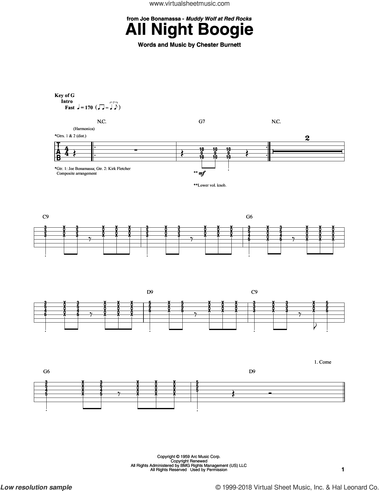 All Night Boogie sheet music for guitar (rhythm tablature) by Joe Bonamassa and Chester Burnett, intermediate skill level