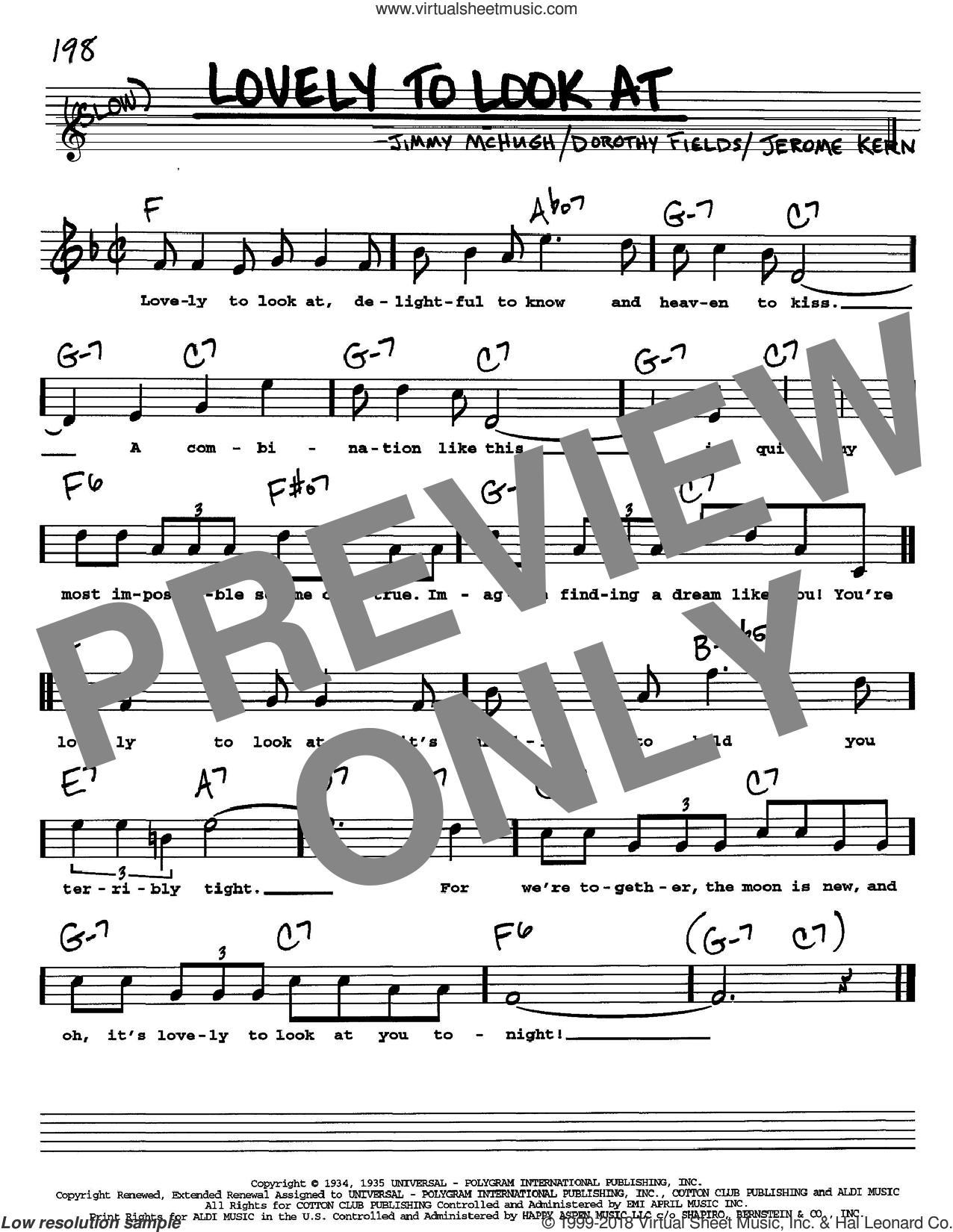 Lovely To Look At sheet music for voice and other instruments (Vocal Volume 2) by Jimmy McHugh