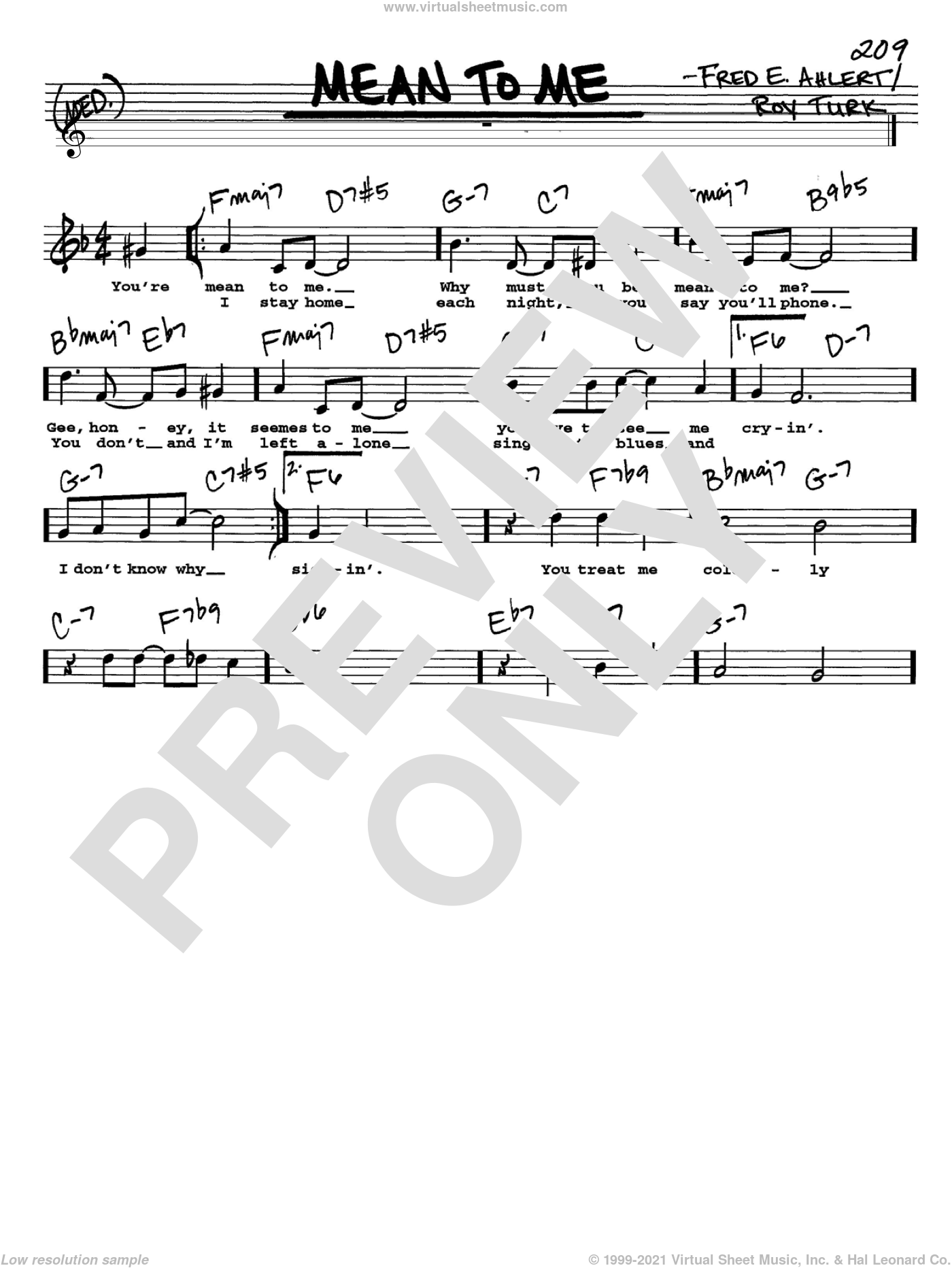Mean To Me sheet music for voice and other instruments (Vocal Volume 2) by Fred Ahlert and Roy Turk. Score Image Preview.