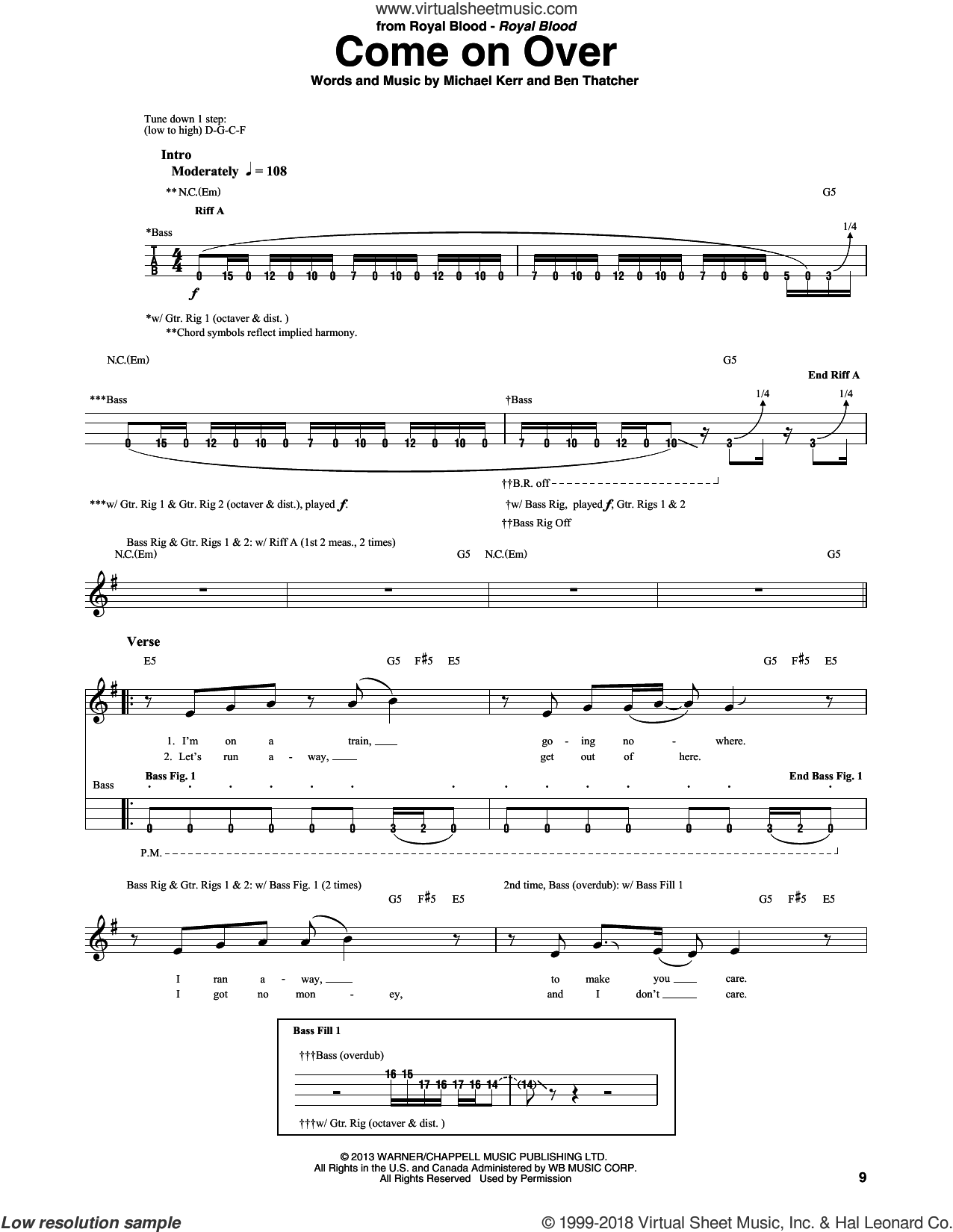 Come On Over sheet music for bass (tablature) (bass guitar) by Royal Blood, Ben Thatcher and Michael Kerr, intermediate skill level