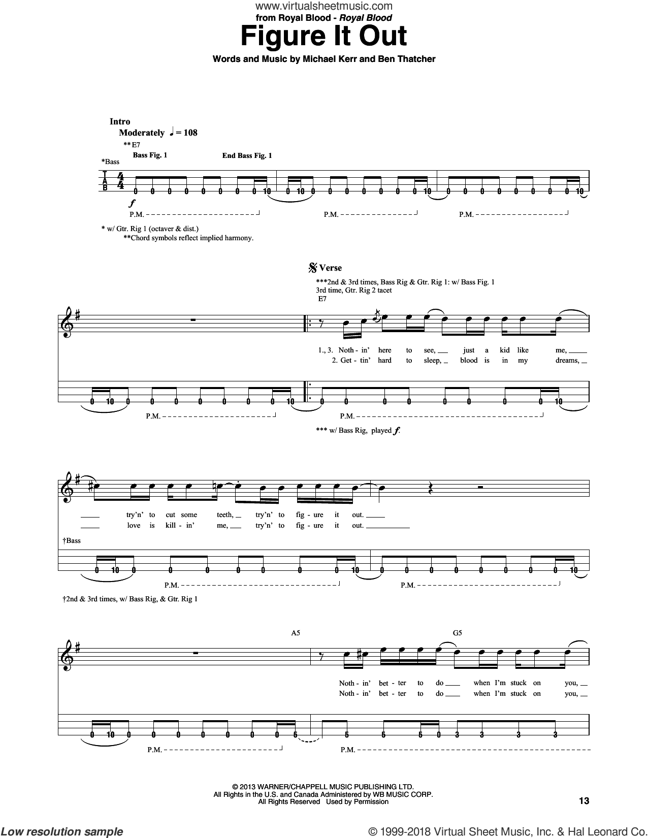 Figure It Out sheet music for bass (tablature) (bass guitar) by Royal Blood, Ben Thatcher and Michael Kerr, intermediate skill level