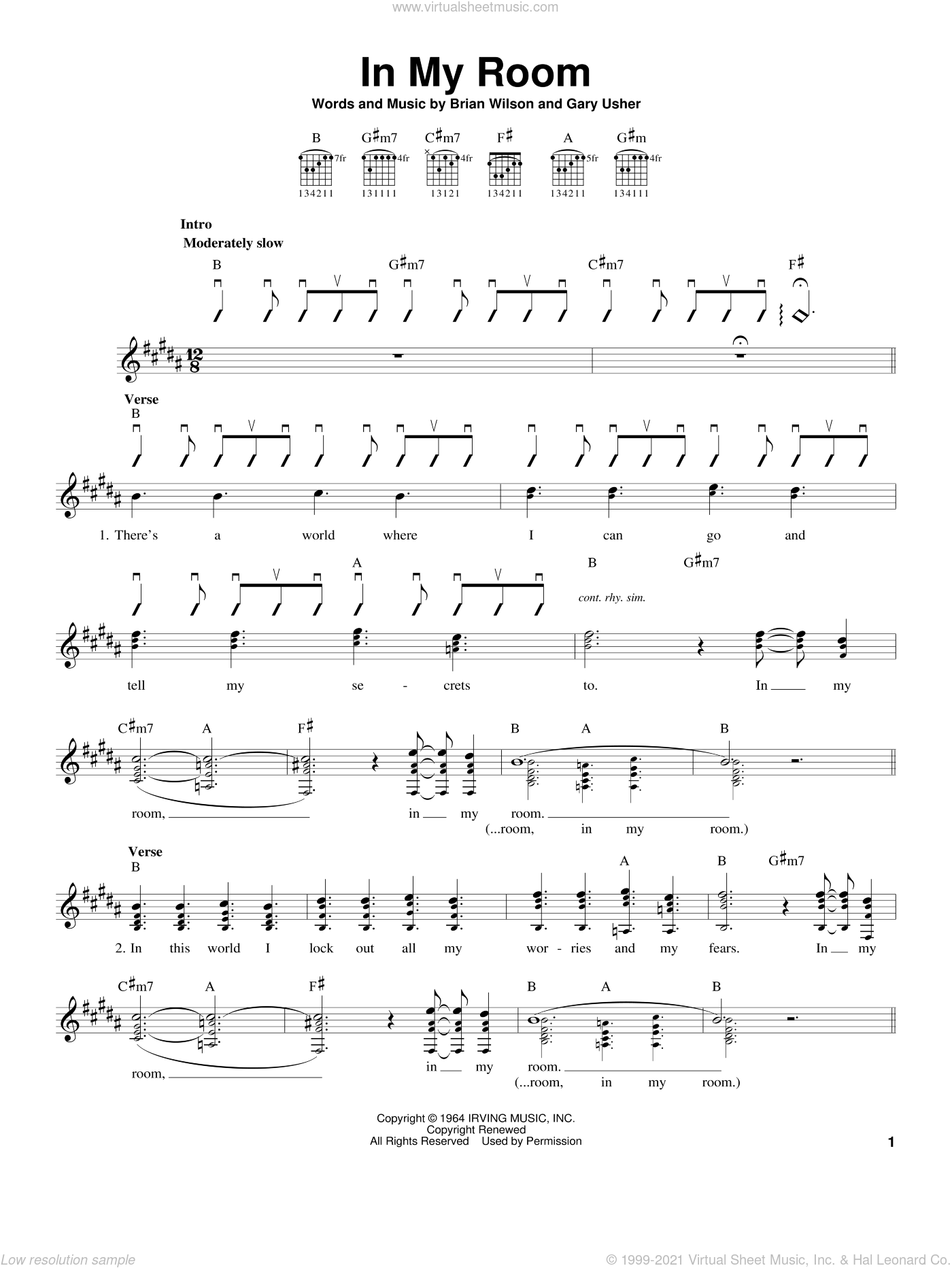 In My Room sheet music for guitar solo (chords) by Gary Usher, The Beach Boys and Brian Wilson. Score Image Preview.