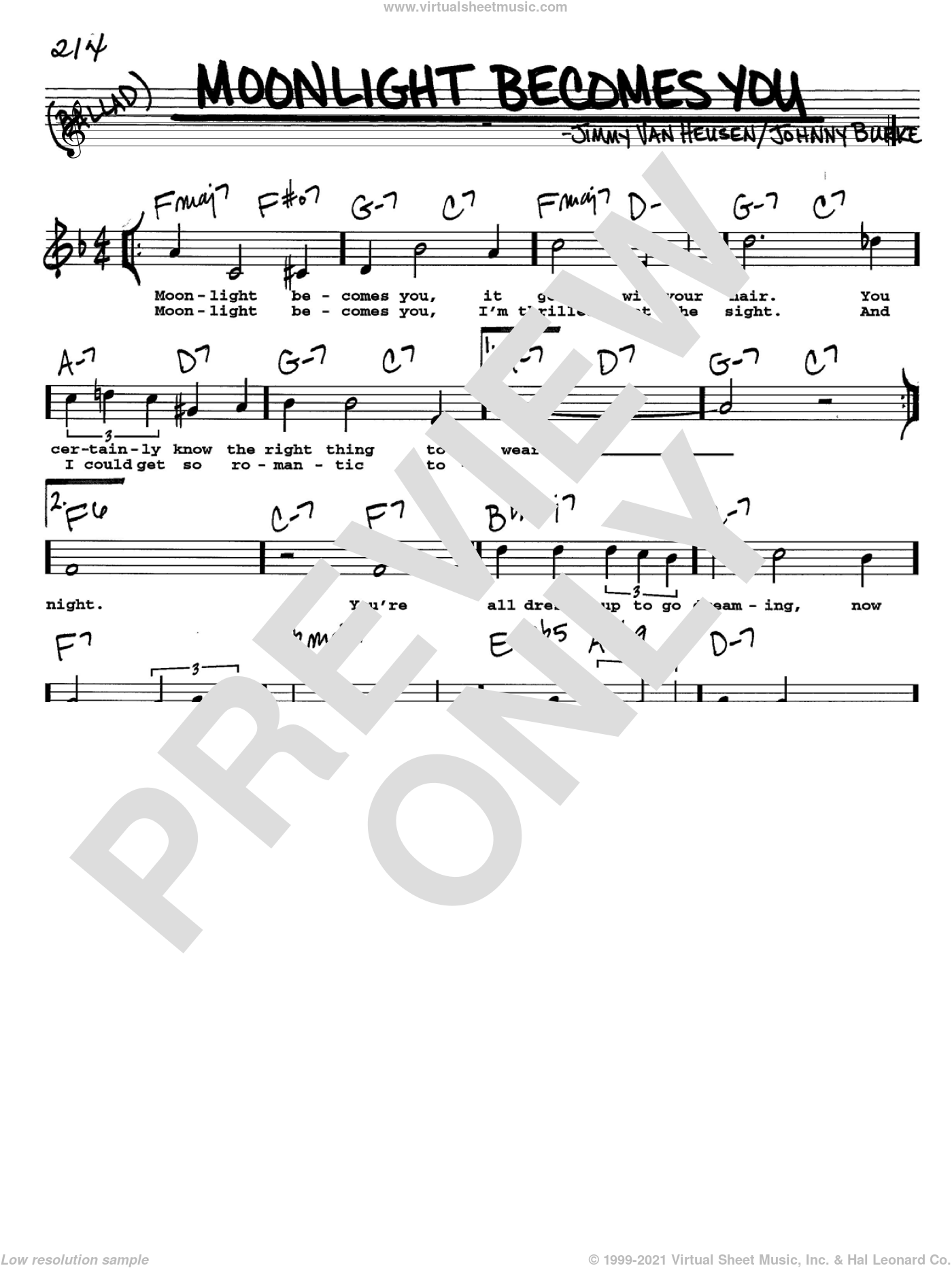Moonlight Becomes You sheet music for voice and other instruments  by Bing Crosby, Jimmy van Heusen and John Burke, intermediate. Score Image Preview.