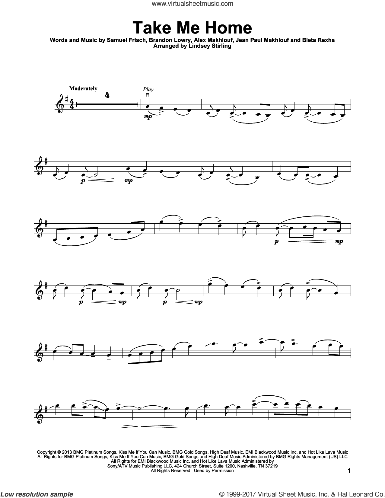 Take Me Home sheet music for violin solo by Lindsey Stirling, Cash Cash, Alex Makhlouf, Bleta Rexha, Brandon Lowry, Jean Paul Makhlouf and Samuel Frisch, intermediate skill level