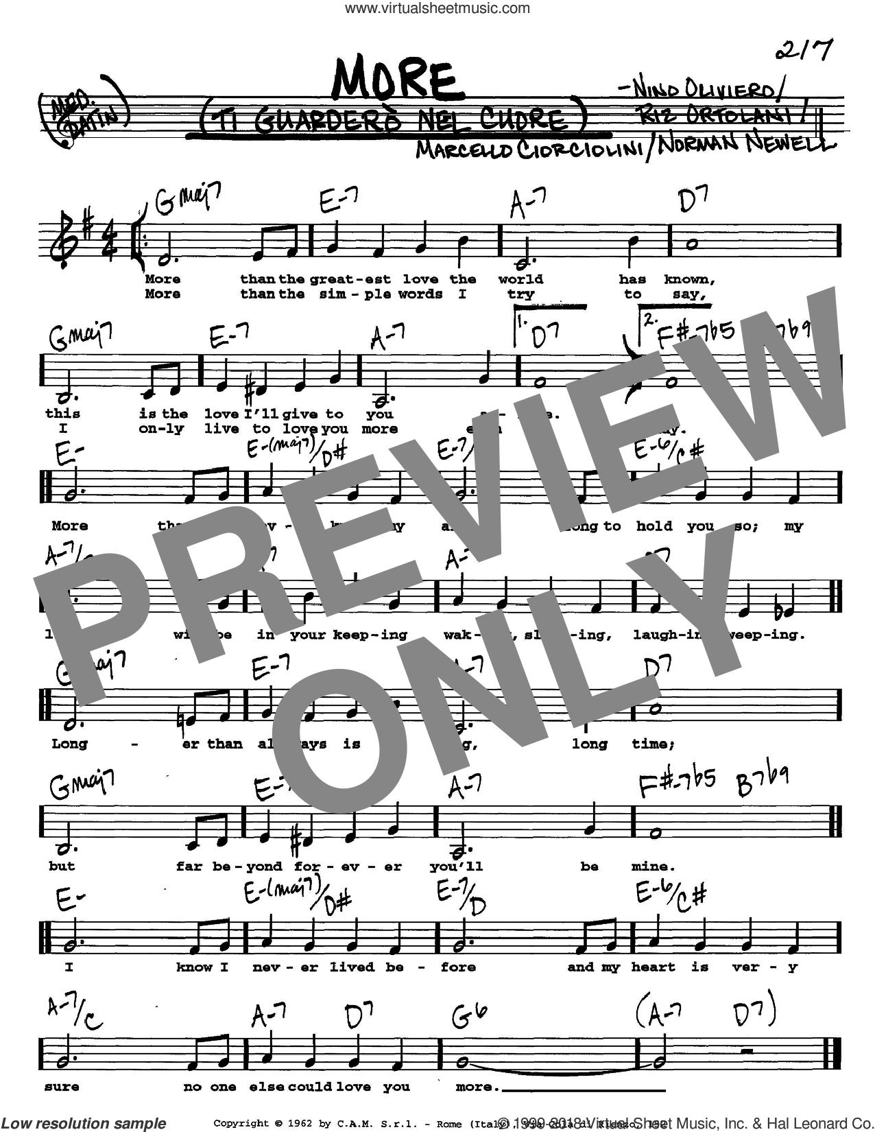 More (Ti Guardero Nel Cuore) sheet music for voice and other instruments  by Marcello Ciorciolini, Nino Oliviero, Norman Newell and Riz Ortolani, intermediate skill level