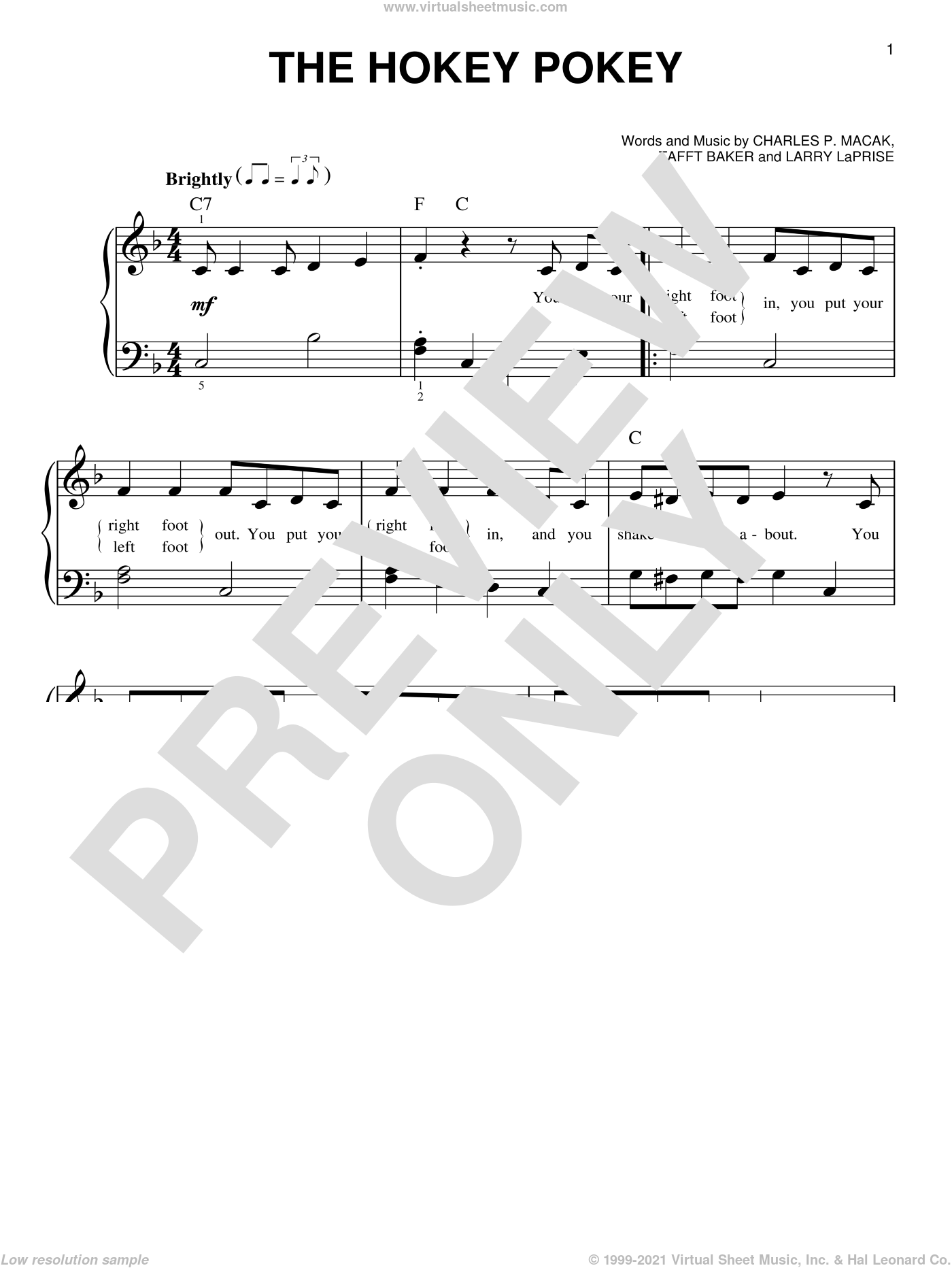 The Hokey Pokey sheet music for piano solo by Charles P. Macak, Larry LaPrise and Tafft Baker. Score Image Preview.