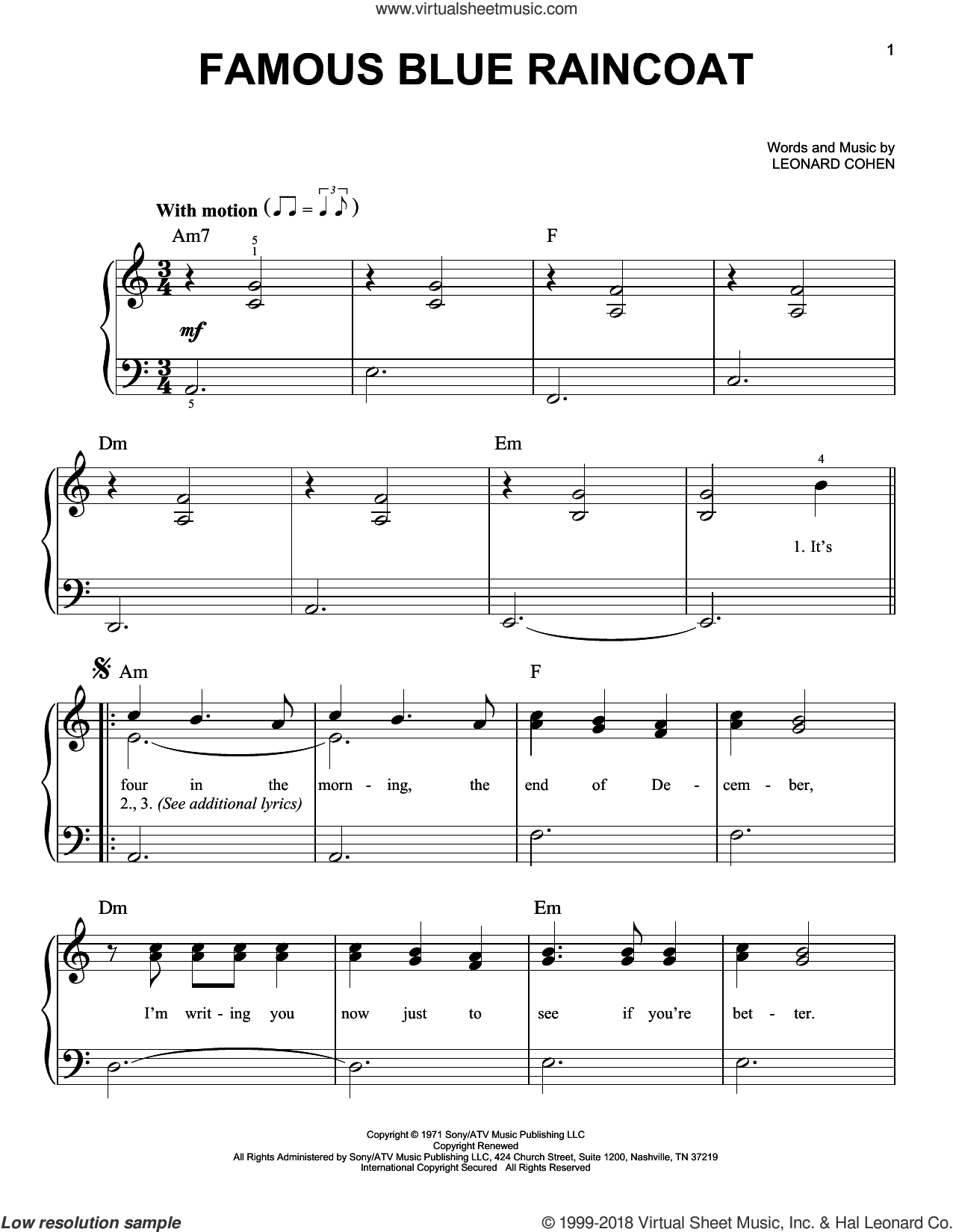 Famous Blue Raincoat sheet music for piano solo by Leonard Cohen, easy. Score Image Preview.