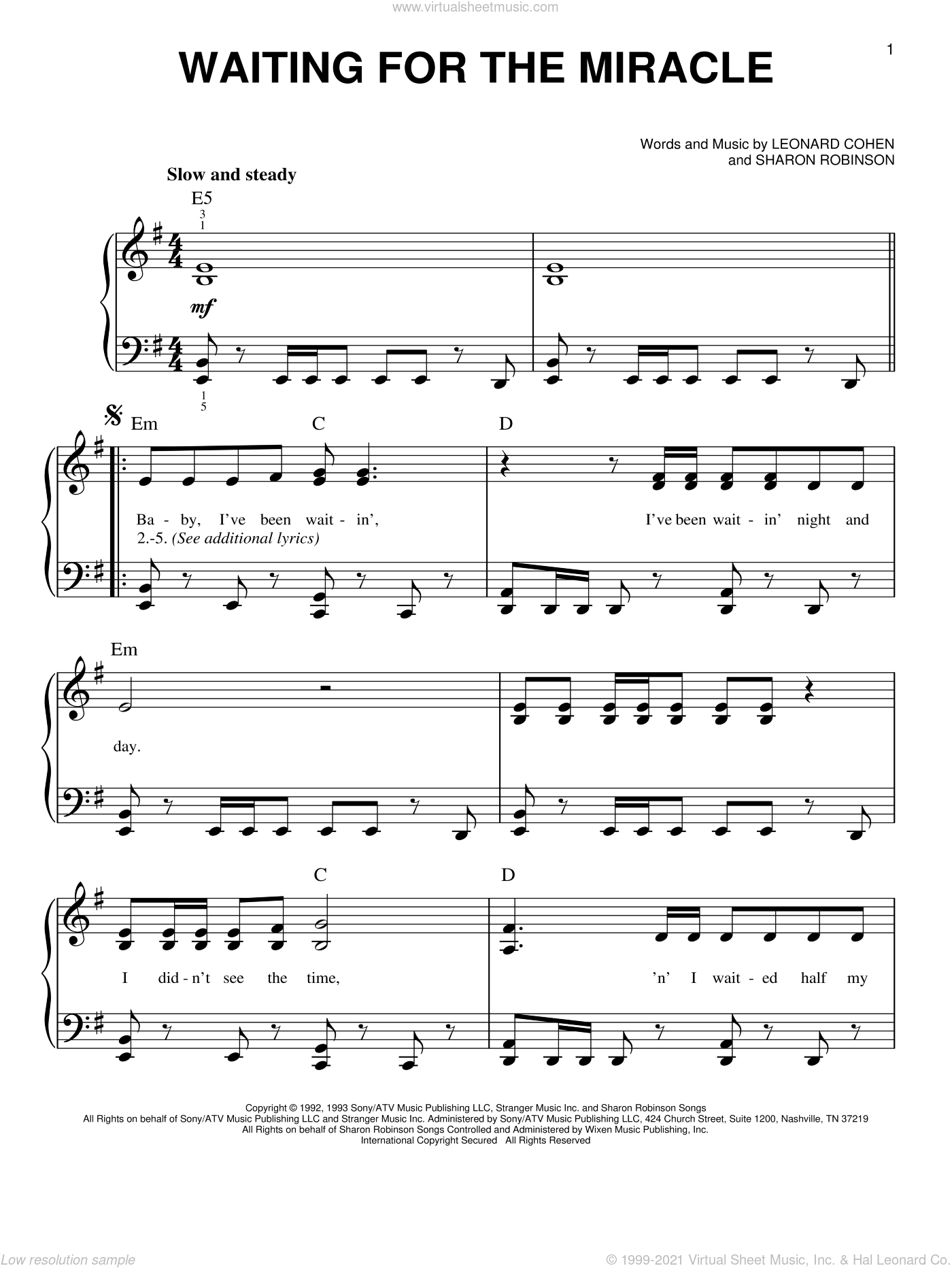 Waiting For The Miracle sheet music for piano solo by Leonard Cohen and Sharon Robinson, easy skill level