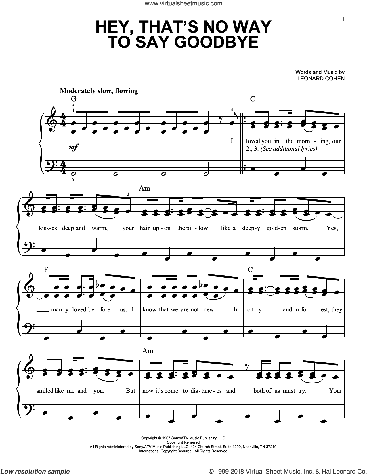 Hey, That's No Way To Say Goodbye sheet music for piano solo by Leonard Cohen, easy skill level