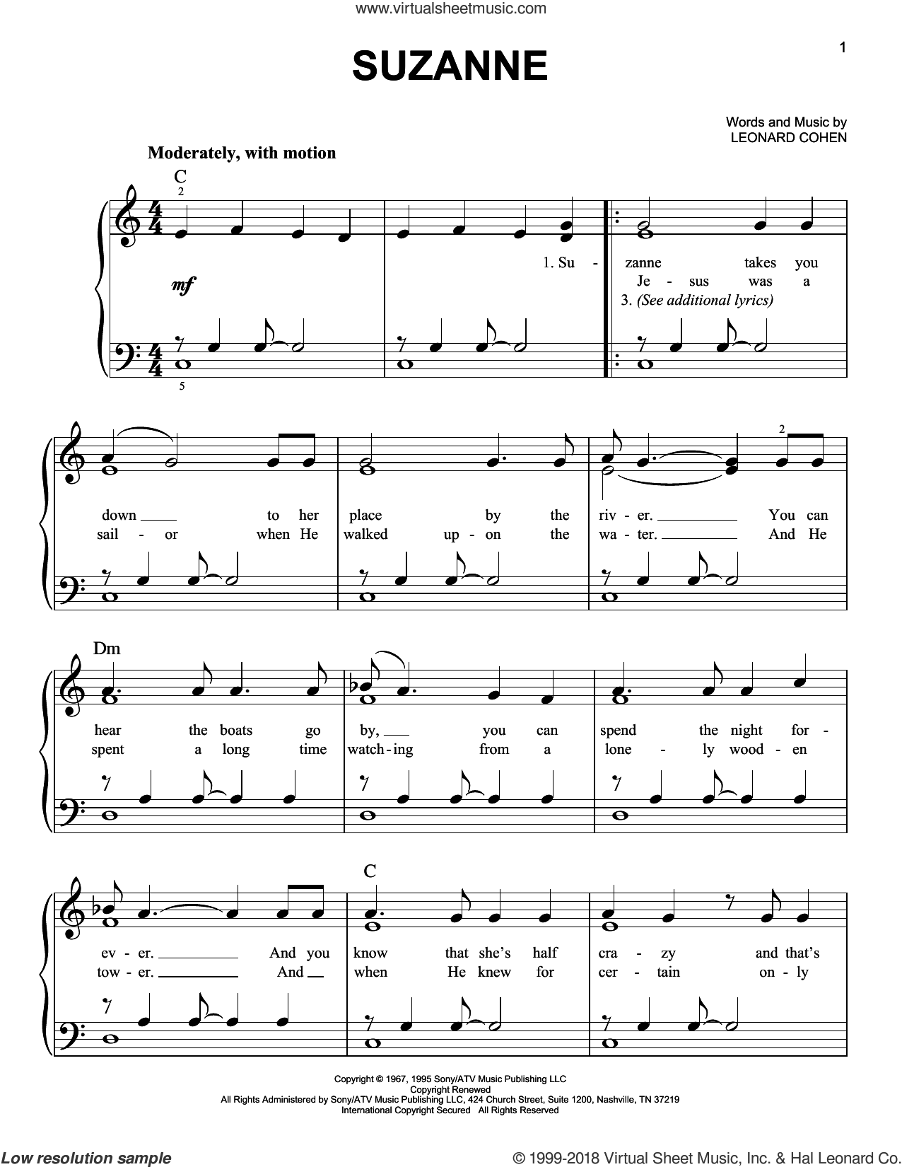 Suzanne sheet music for piano solo by Leonard Cohen, easy skill level