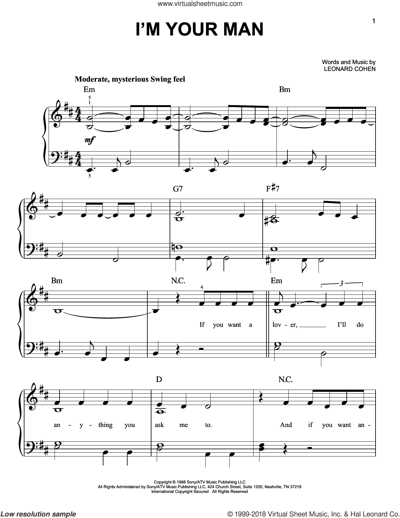 I'm Your Man sheet music for piano solo by Leonard Cohen, easy skill level