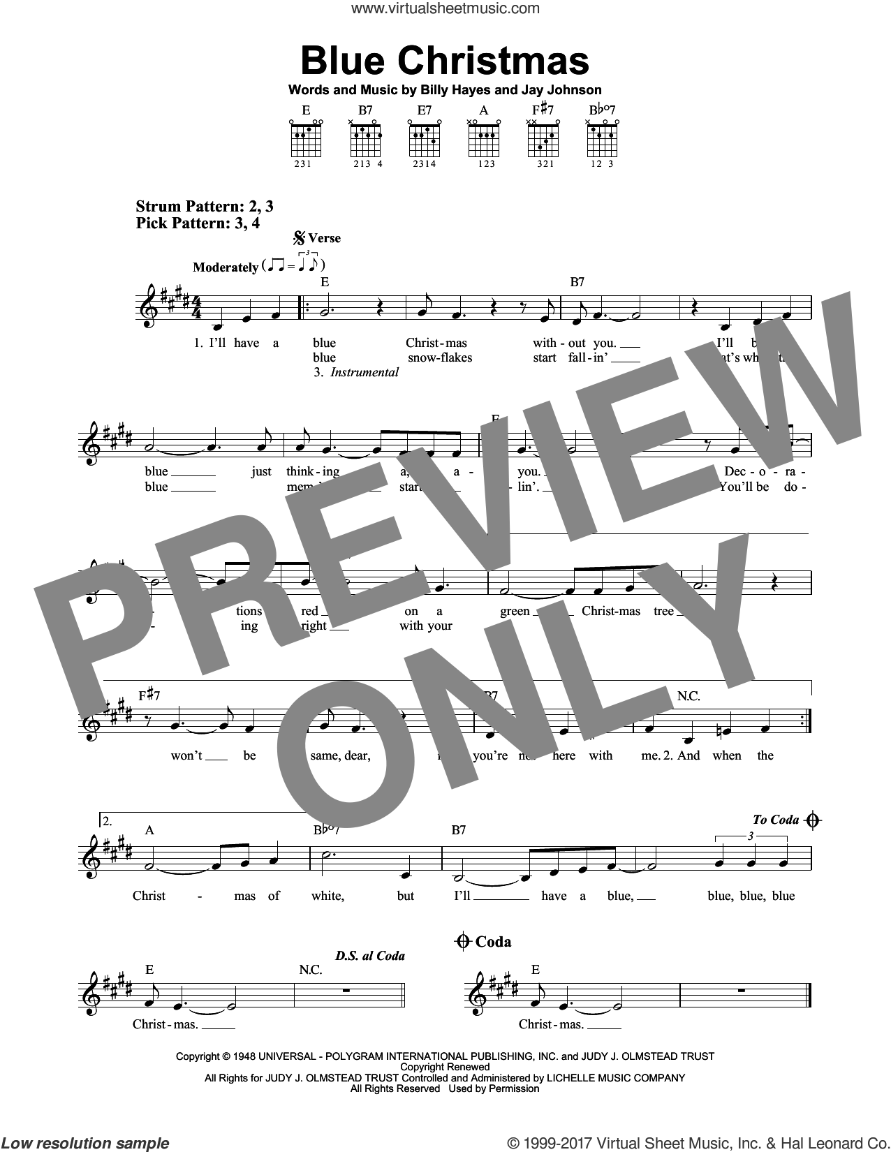 Blue Christmas sheet music for guitar solo (chords) by Elvis Presley and Jay Johnson. Score Image Preview.
