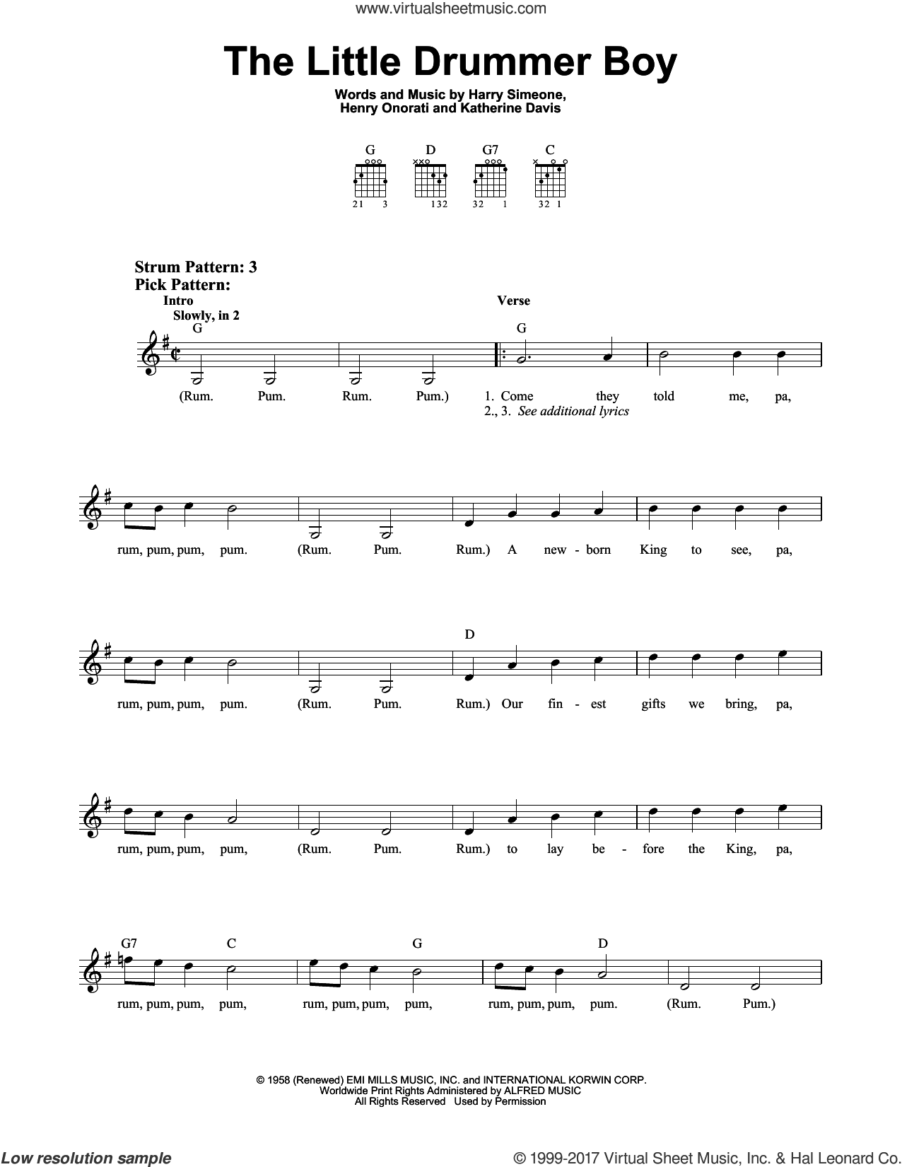 The Little Drummer Boy sheet music for guitar solo (chords) by Katherine Davis, Harry Simeone and Henry Onorati, easy guitar (chords)