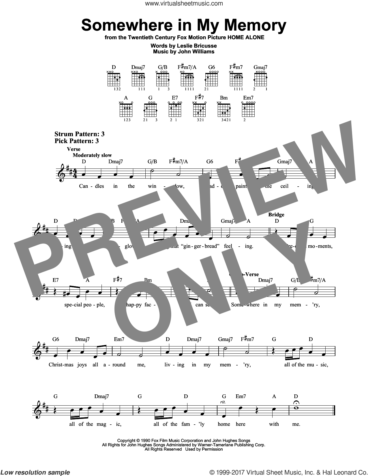 Somewhere In My Memory sheet music for guitar solo (chords) by John Williams and Leslie Bricusse, easy guitar (chords)