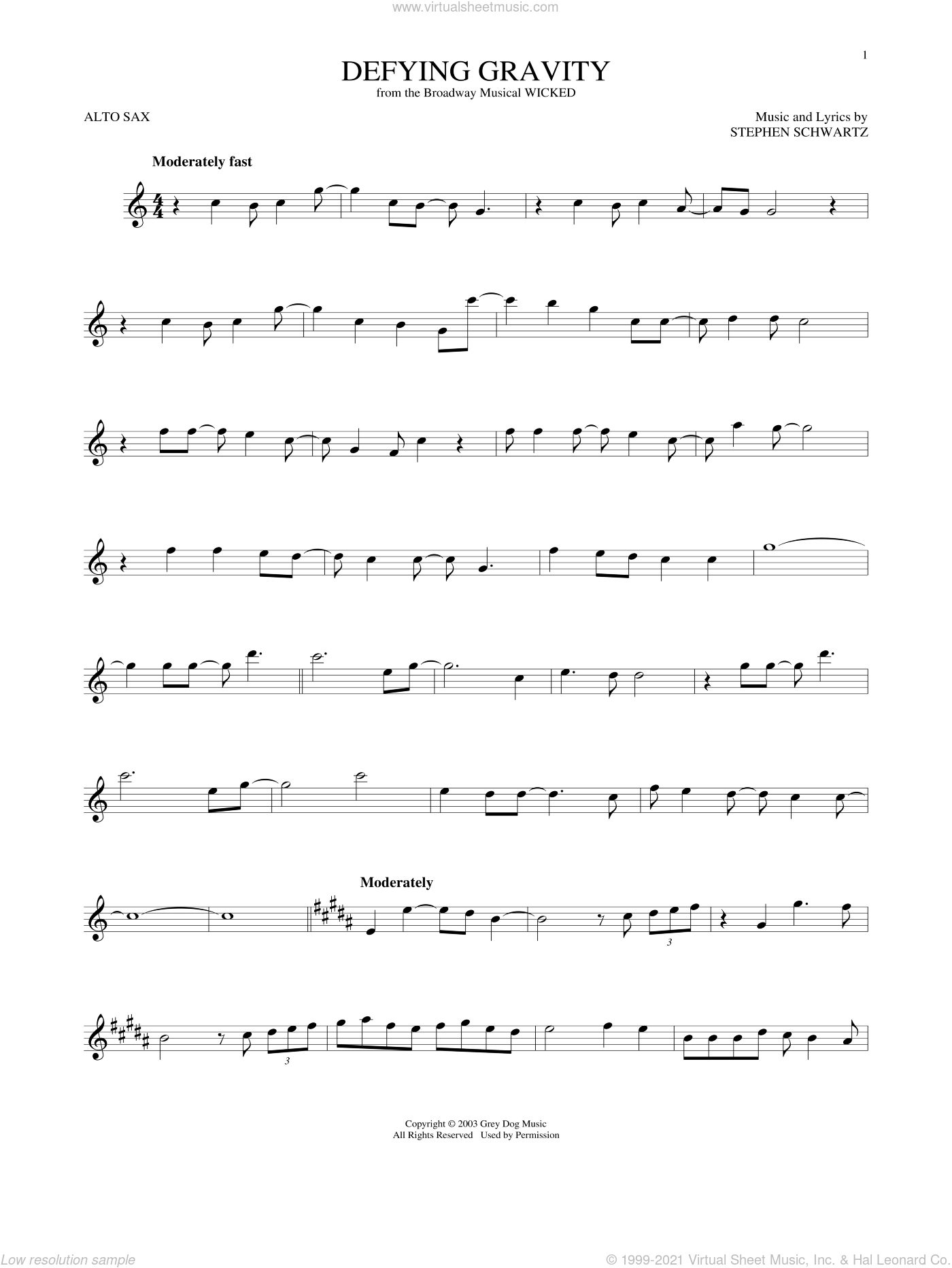 Defying Gravity sheet music for alto saxophone solo by Stephen Schwartz, intermediate skill level